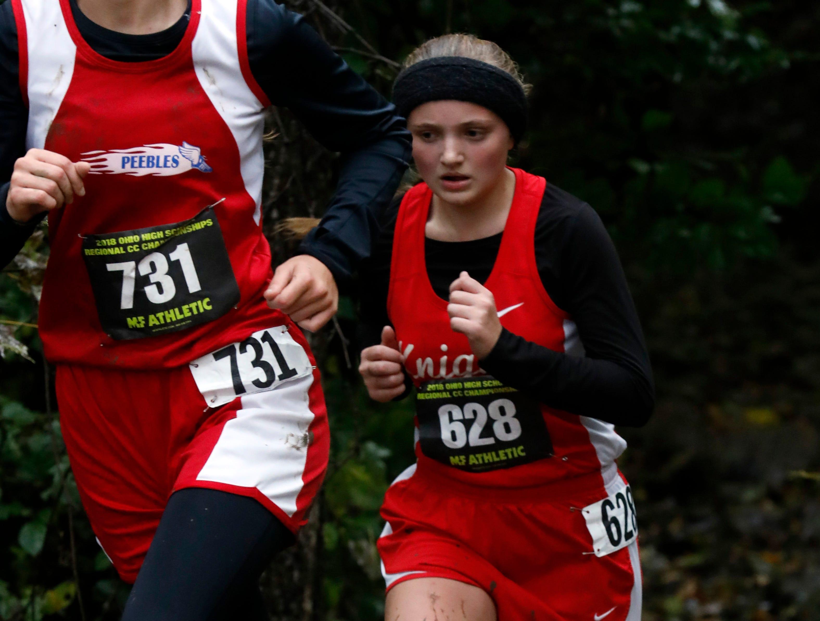 Fairfield Christian's Cassie Thompson runs in the Regional Cross Country meet Saturday, Oct. 27, 2018, at Pickerington North High School in Pickerington.