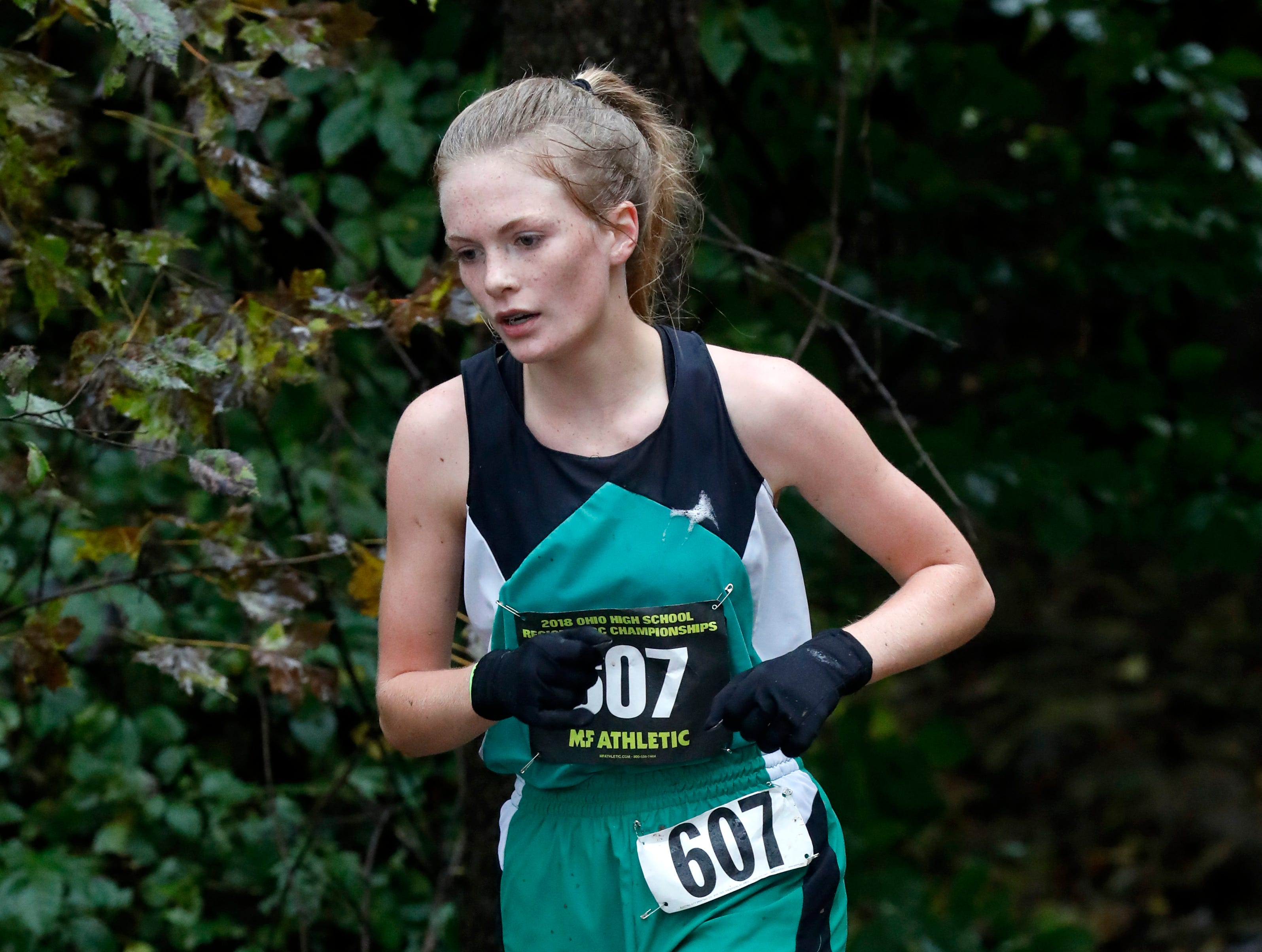 Huntington's Cindy Hopkins runs in the Regional Cross Country meet Saturday, Oct. 27, 2018, at Pickerington North High School in Pickerington.