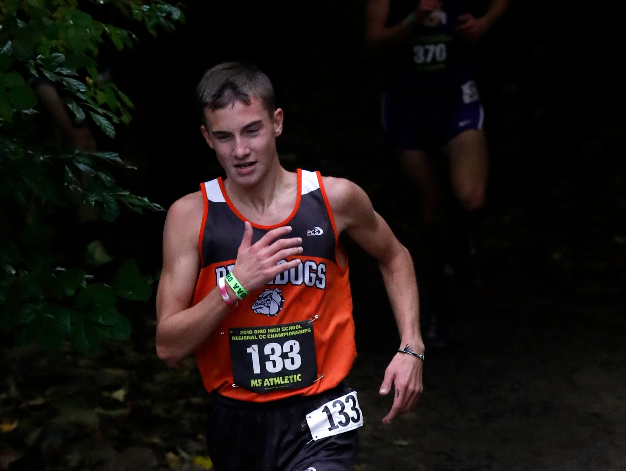 Heath's Dylan Hammond runs in the Regional Cross Country meet Saturday, Oct. 27, 2018, at Pickerington North High School in Pickerington.