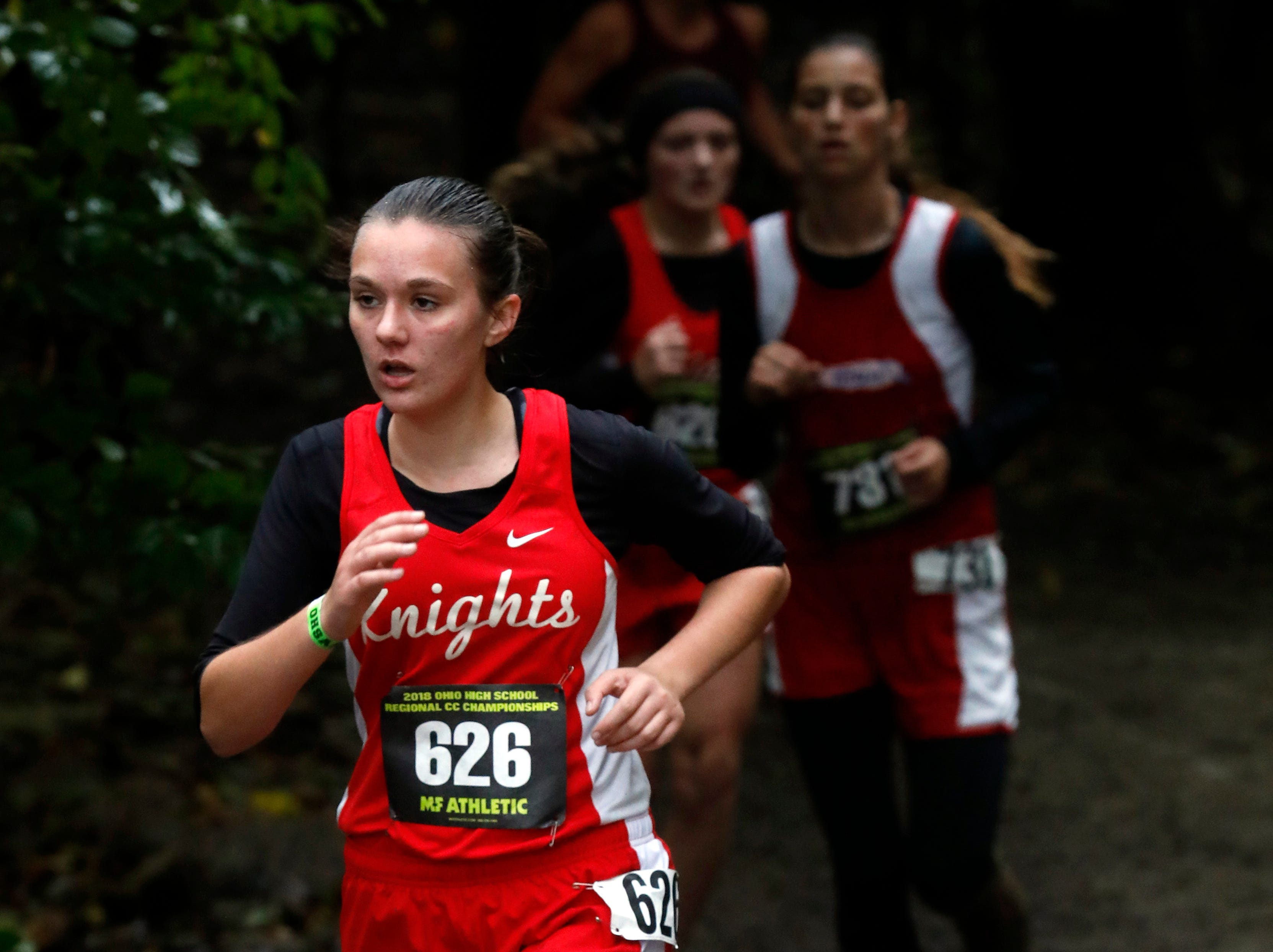 Fairfield Christian's Maggie Roberts runs in the Regional Cross Country meet Saturday, Oct. 27, 2018, at Pickerington North High School in Pickerington.