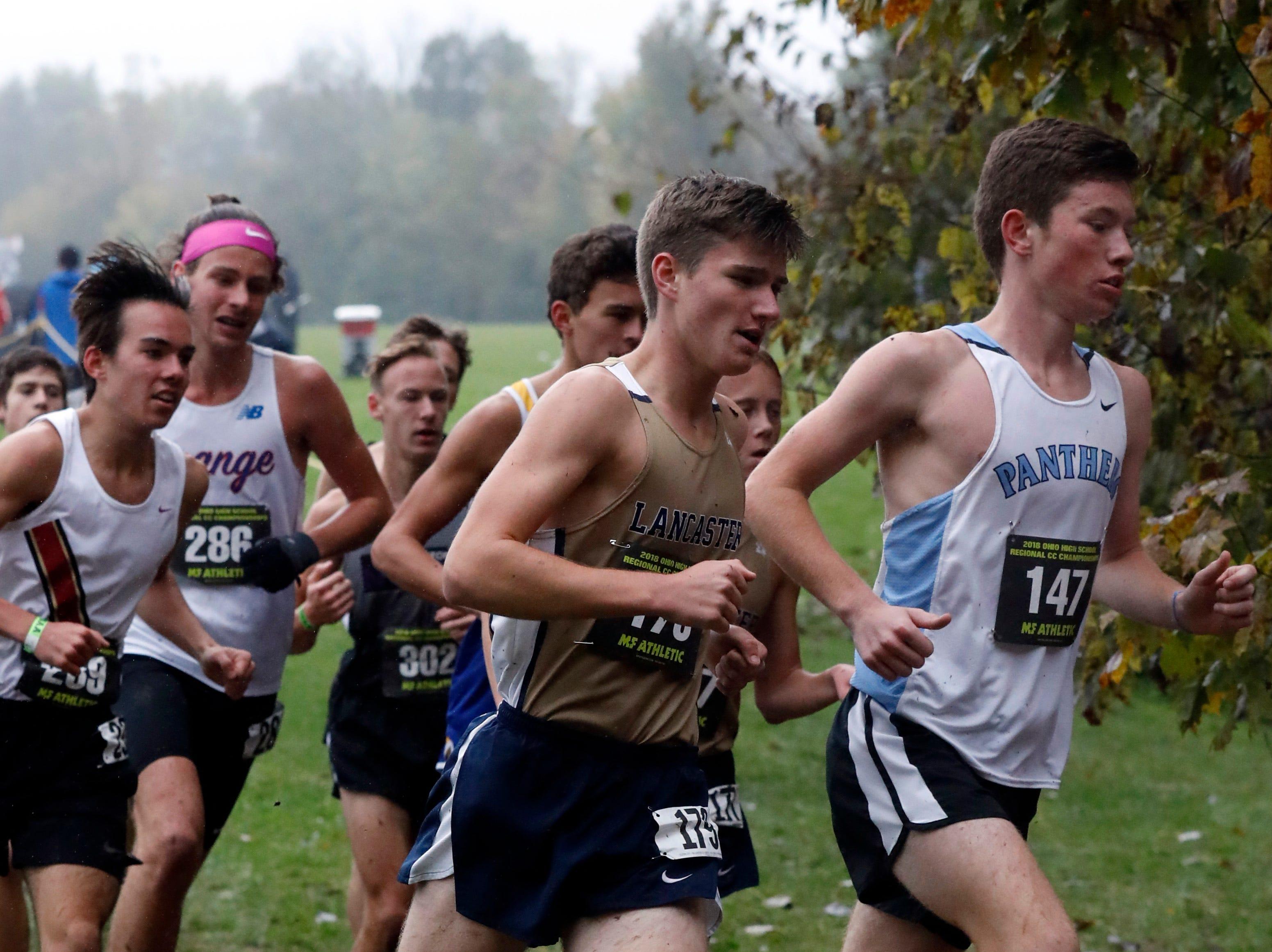 Lancaster's Andrew Smith runs in the Regional Cross Country meet Saturday, Oct. 27, 2018, at Pickerington North High School in Pickerington.