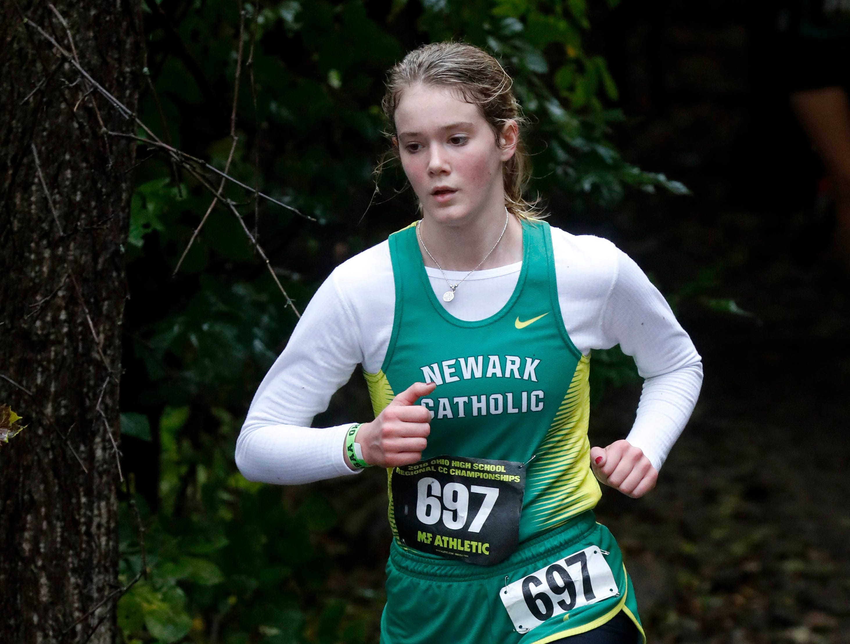 Newark Catholic's Chloe Richardson runs in the Regional Cross Country meet Saturday, Oct. 27, 2018, at Pickerington North High School in Pickerington.