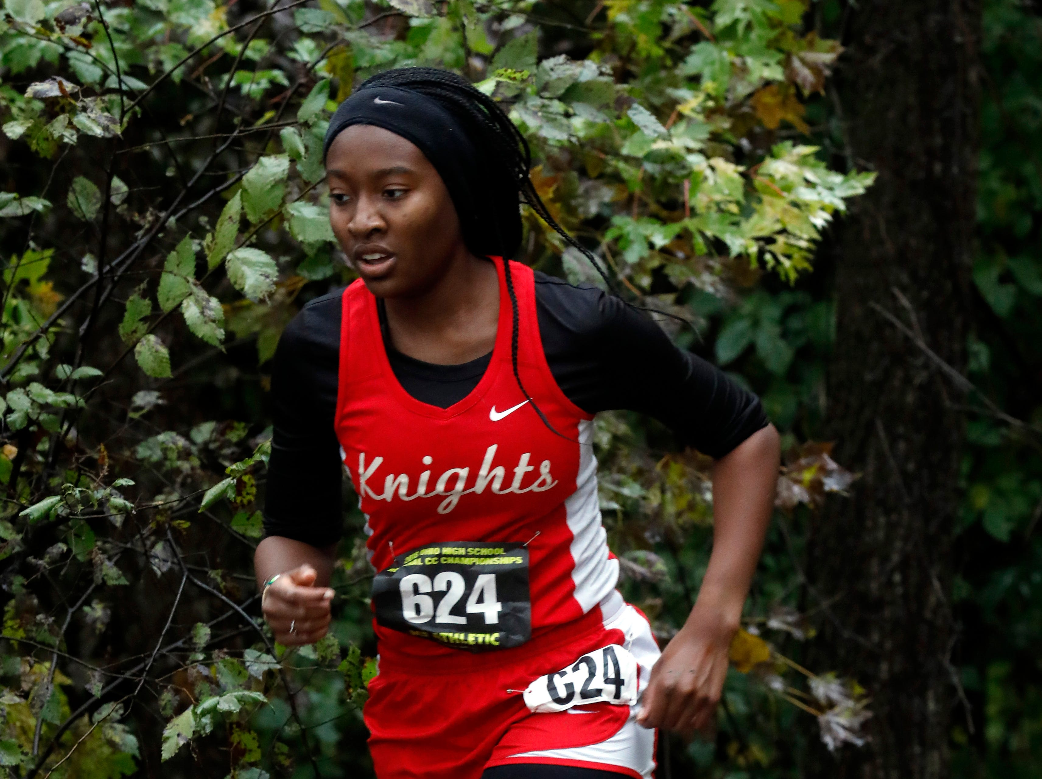 Fairfield Christian's Maame Adu runs in the Regional Cross Country meet Saturday, Oct. 27, 2018, at Pickerington North High School in Pickerington.