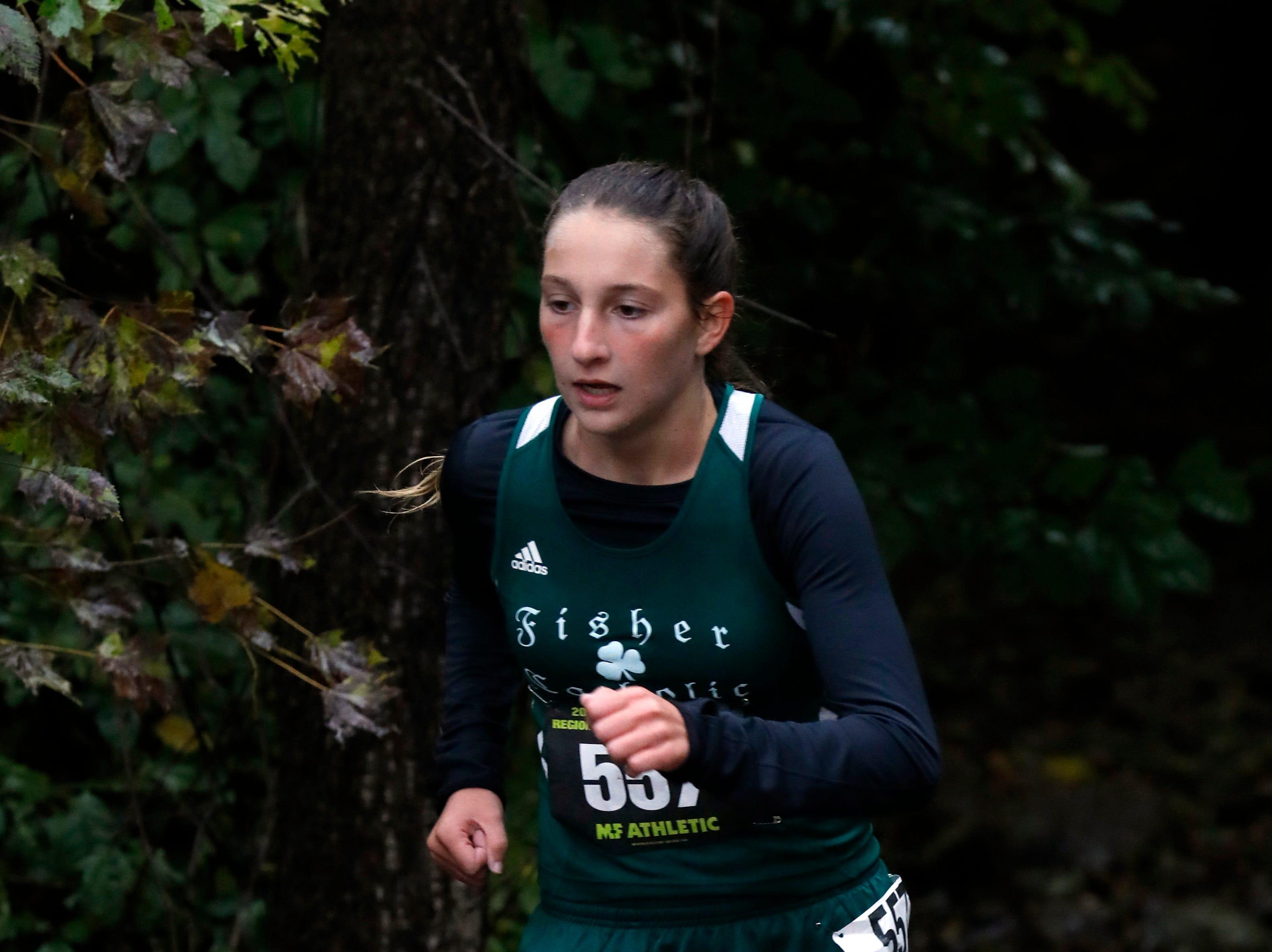 Fisher Catholic's Natalie Boyden runs in the Regional Cross Country meet Saturday, Oct. 27, 2018, at Pickerington North High School in Pickerington.