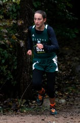 Fisher Catholic's Natalie Boyden runs in the Regional Cross Country meet Saturday, Oct. 27, 2018, at Pickerington North High School in Pickerington.