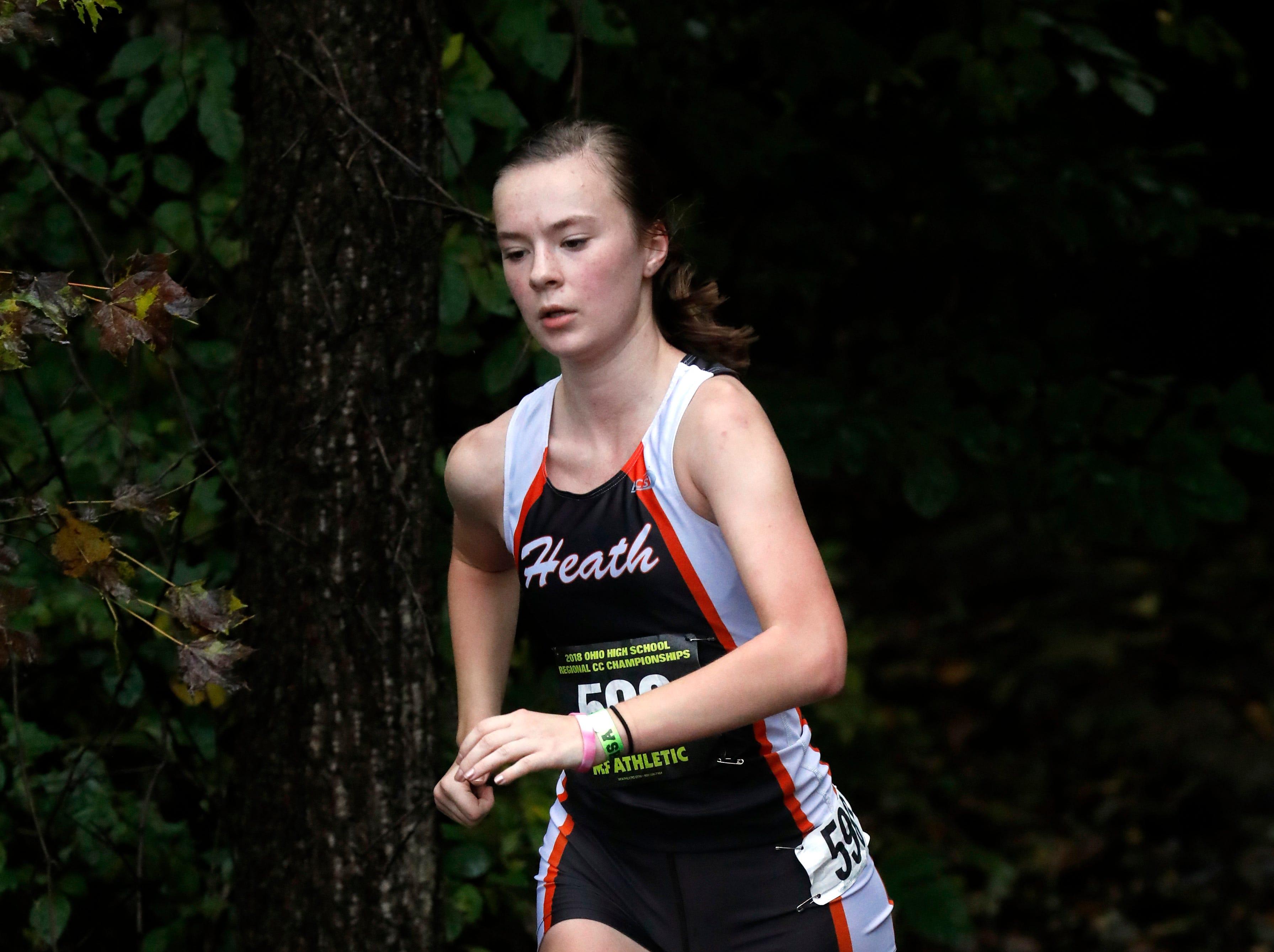 Heath's Rory Bridges runs in the Regional Cross Country meet Saturday, Oct. 27, 2018, at Pickerington North High School in Pickerington.