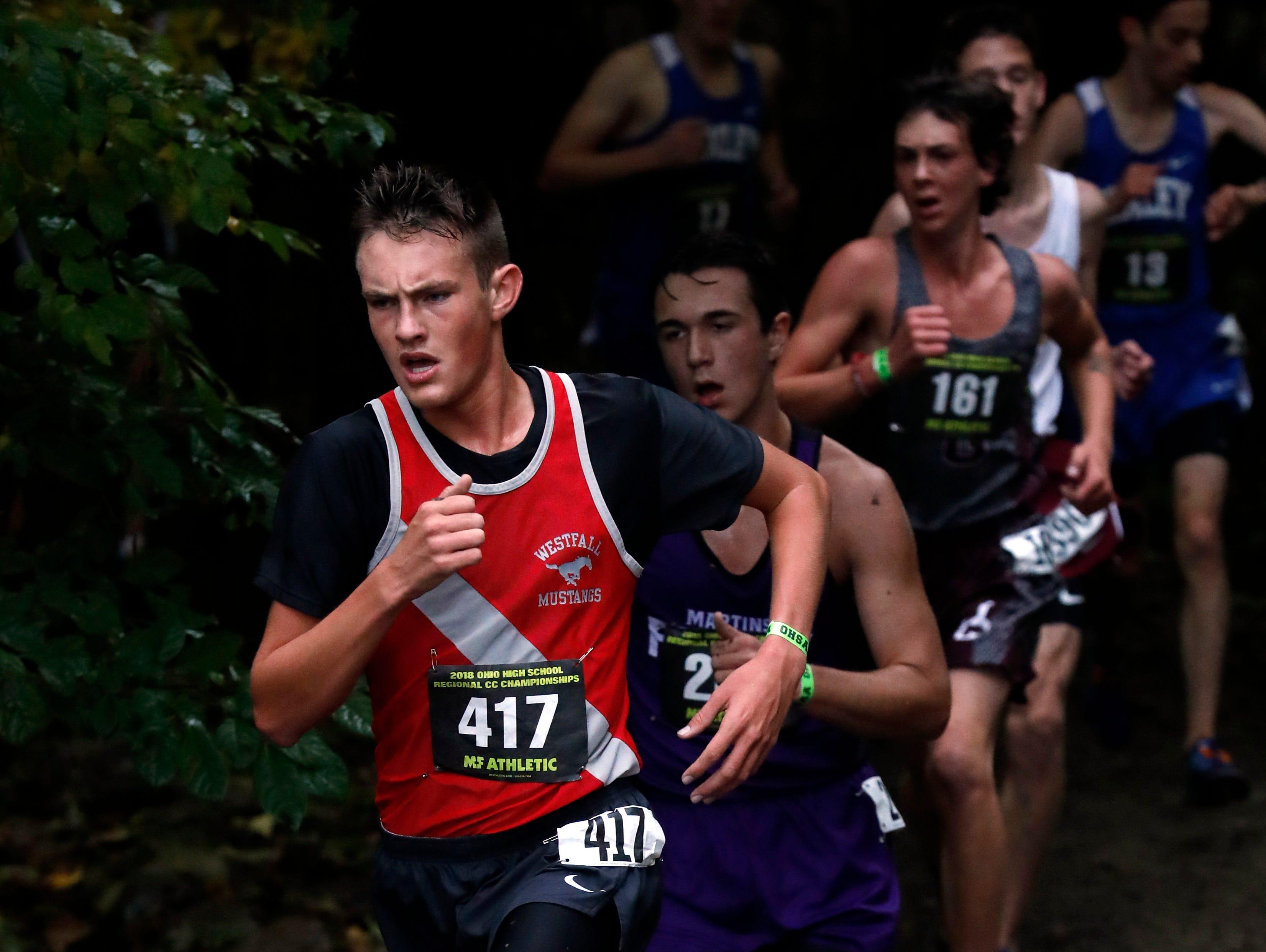 Westfall's Zach Shipley runs in the Regional Cross Country meet Saturday, Oct. 27, 2018, at Pickerington North High School in Pickerington.