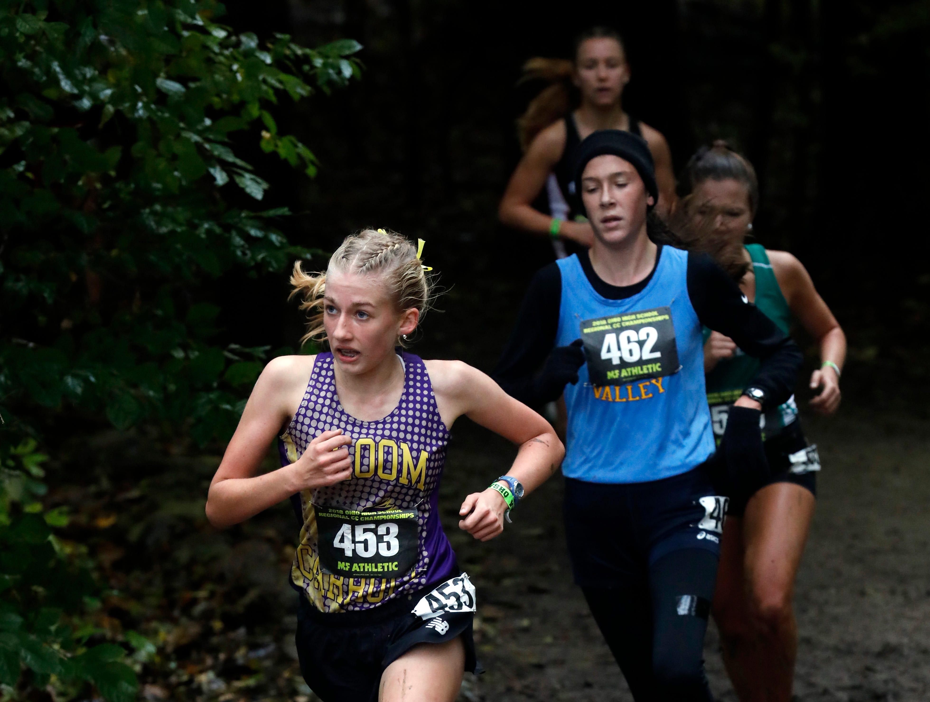 Bloom-Carroll's Abigail Matthews runs in the Regional Cross Country meet Saturday, Oct. 27, 2018, at Pickerington North High School in Pickerington.