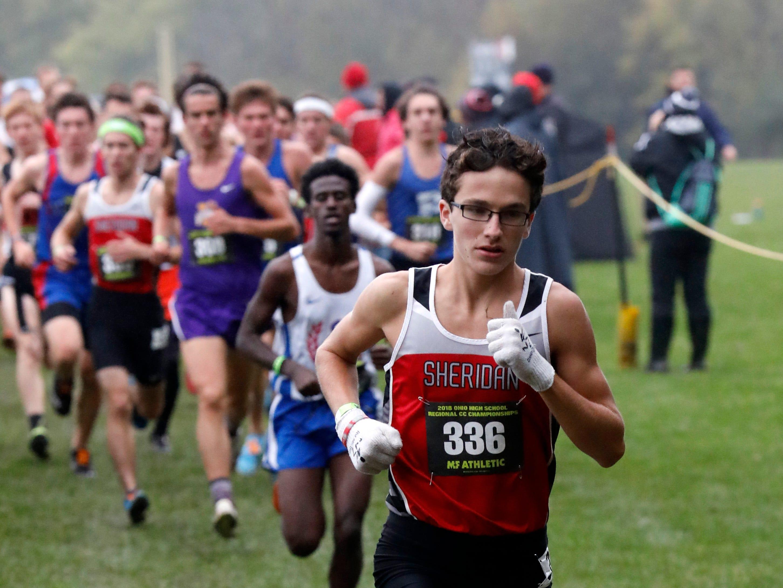 Sheridan's William Wilke runs in the Regional Cross Country meet Saturday, Oct. 27, 2018, at Pickerington North High School in Pickerington.