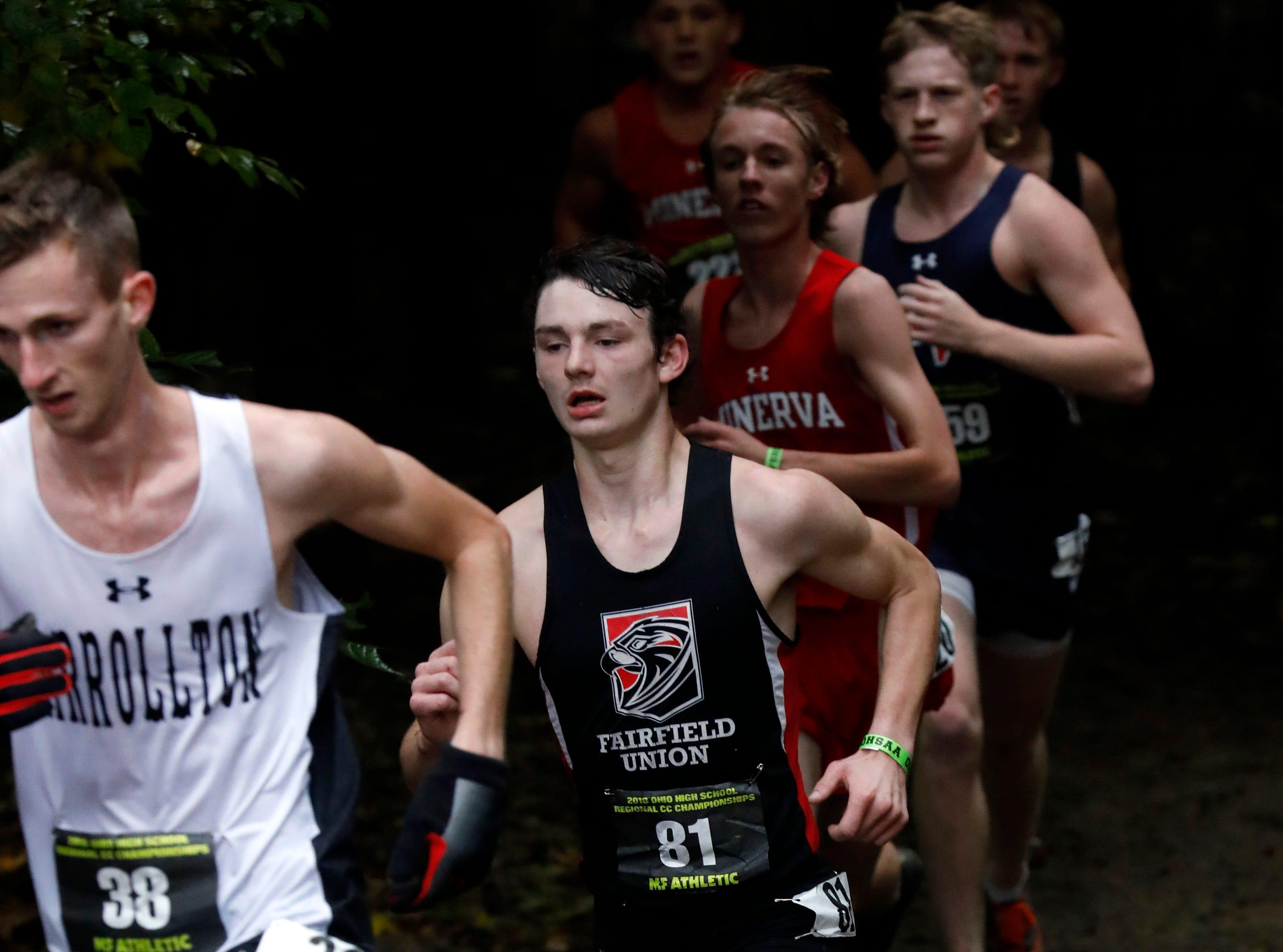 Fairfield Union's Jeffrey Kovatch runs in the Regional Cross Country meet Saturday, Oct. 27, 2018, at Pickerington North High School in Pickerington.