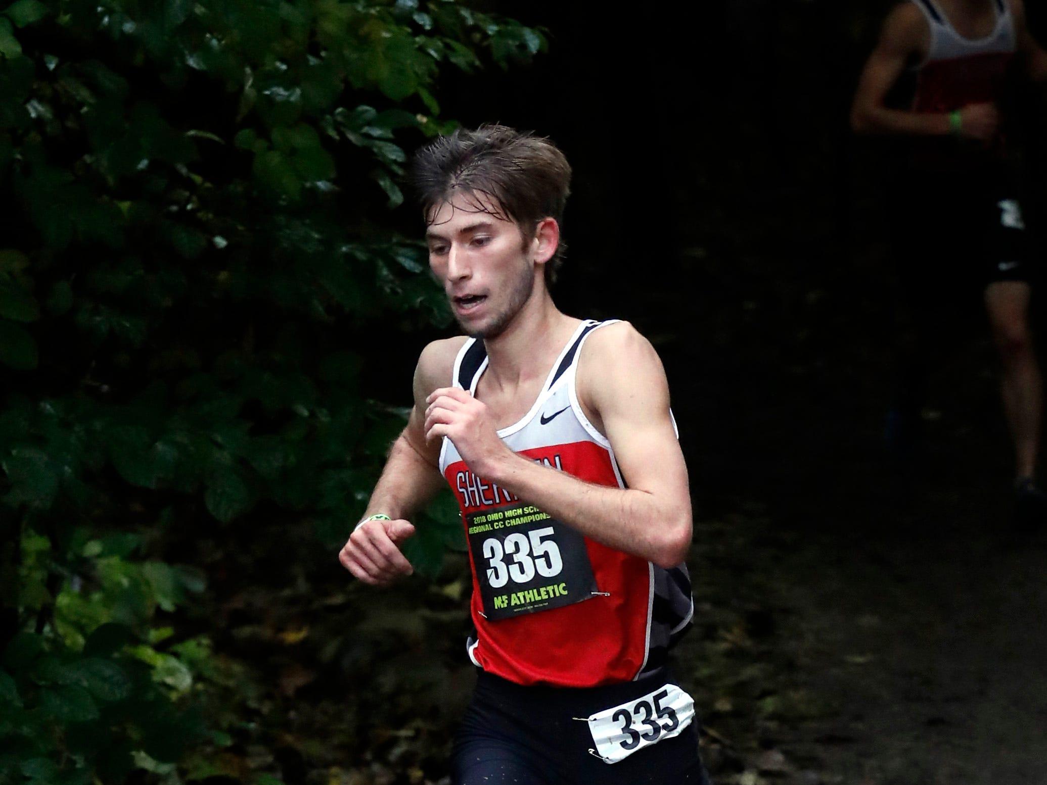 Sheridan's Mitchell Wells runs in the Regional Cross Country meet Saturday, Oct. 27, 2018, at Pickerington North High School in Pickerington.