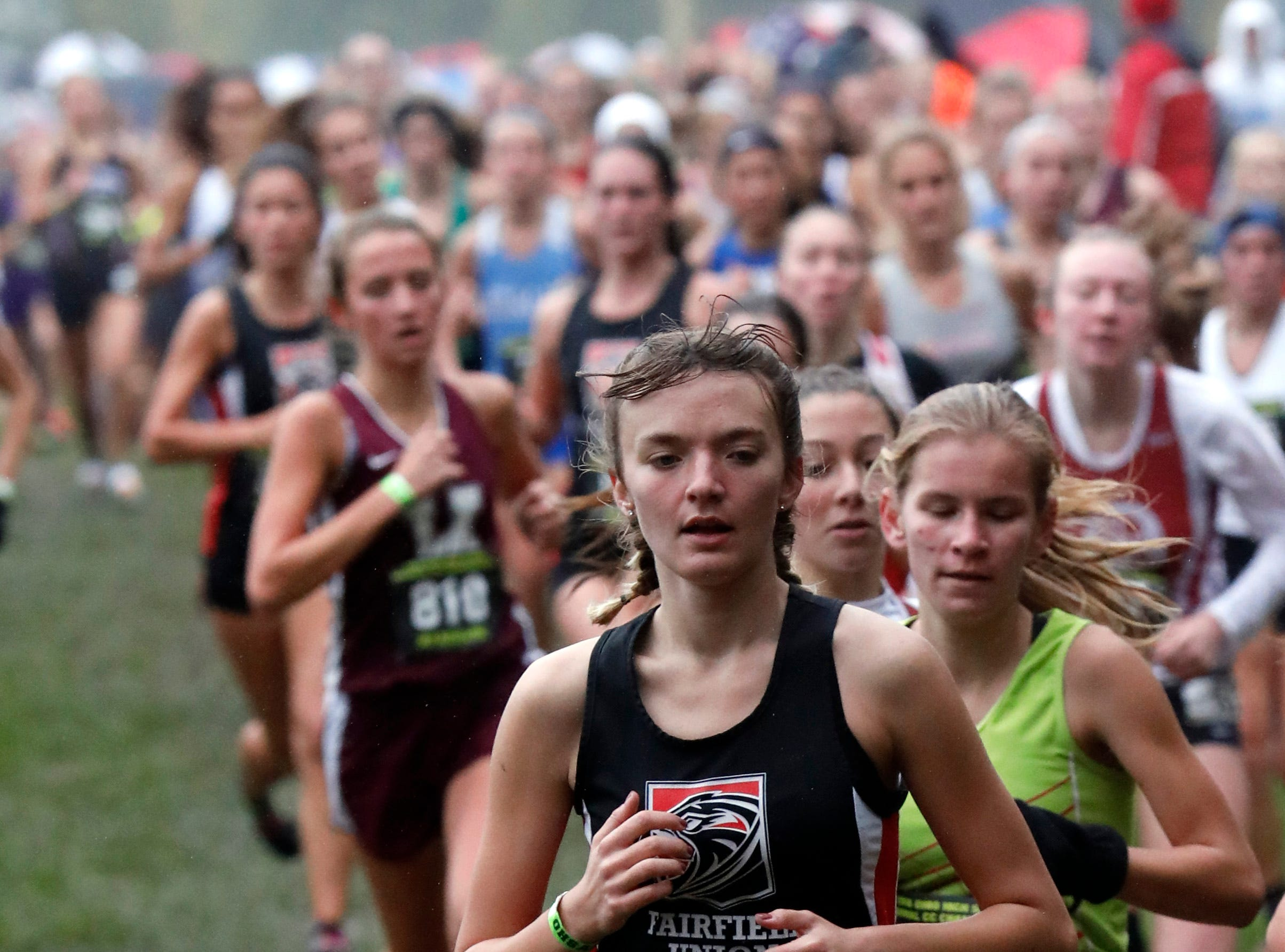 Fairfield Union's Heather Lecrone runs in the Regional Cross Country meet Saturday, Oct. 27, 2018, at Pickerington North High School in Pickerington.