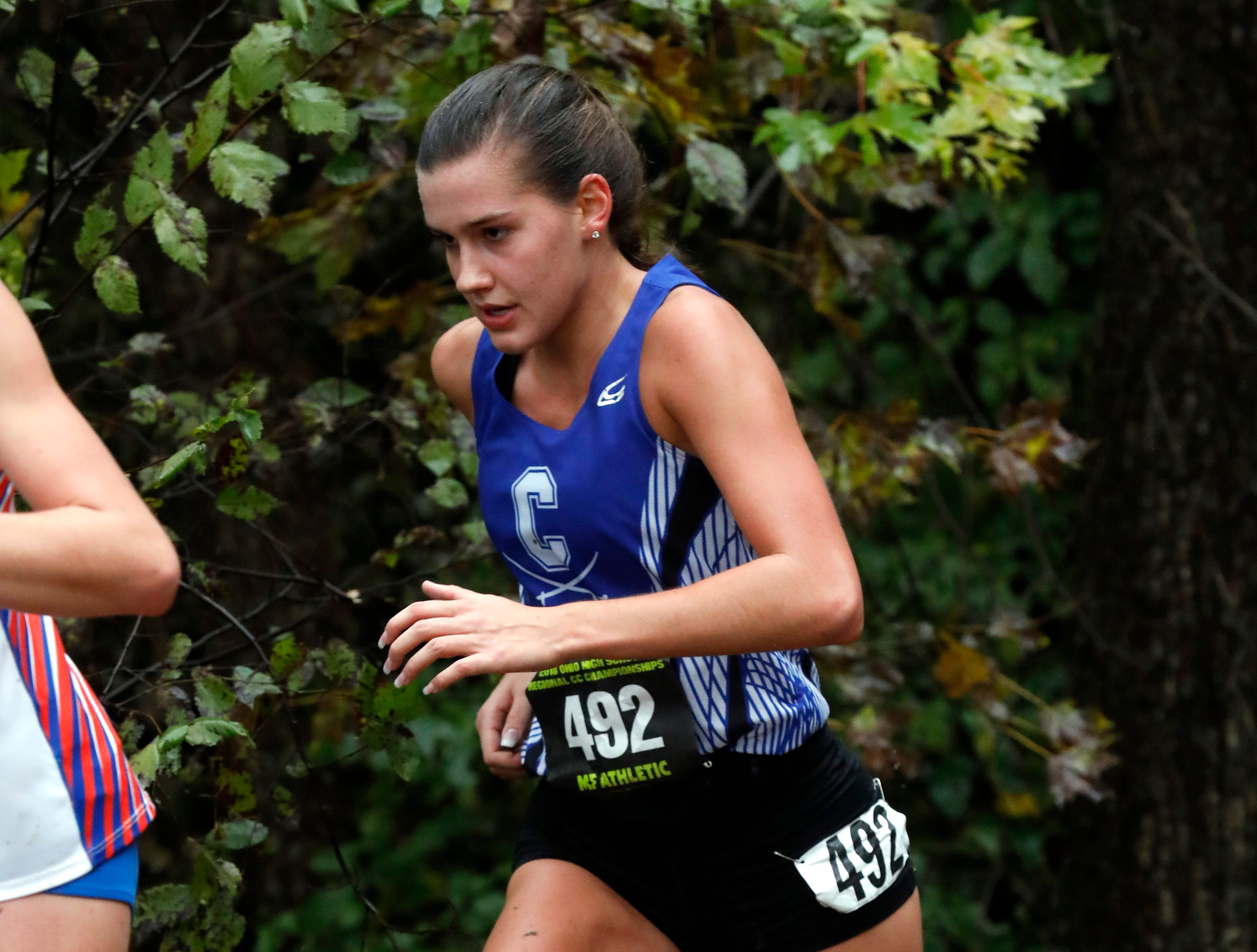 Chillicothe's Caitlyn Mauger runs in the Regional Cross Country meet Saturday, Oct. 27, 2018, at Pickerington North High School in Pickerington.