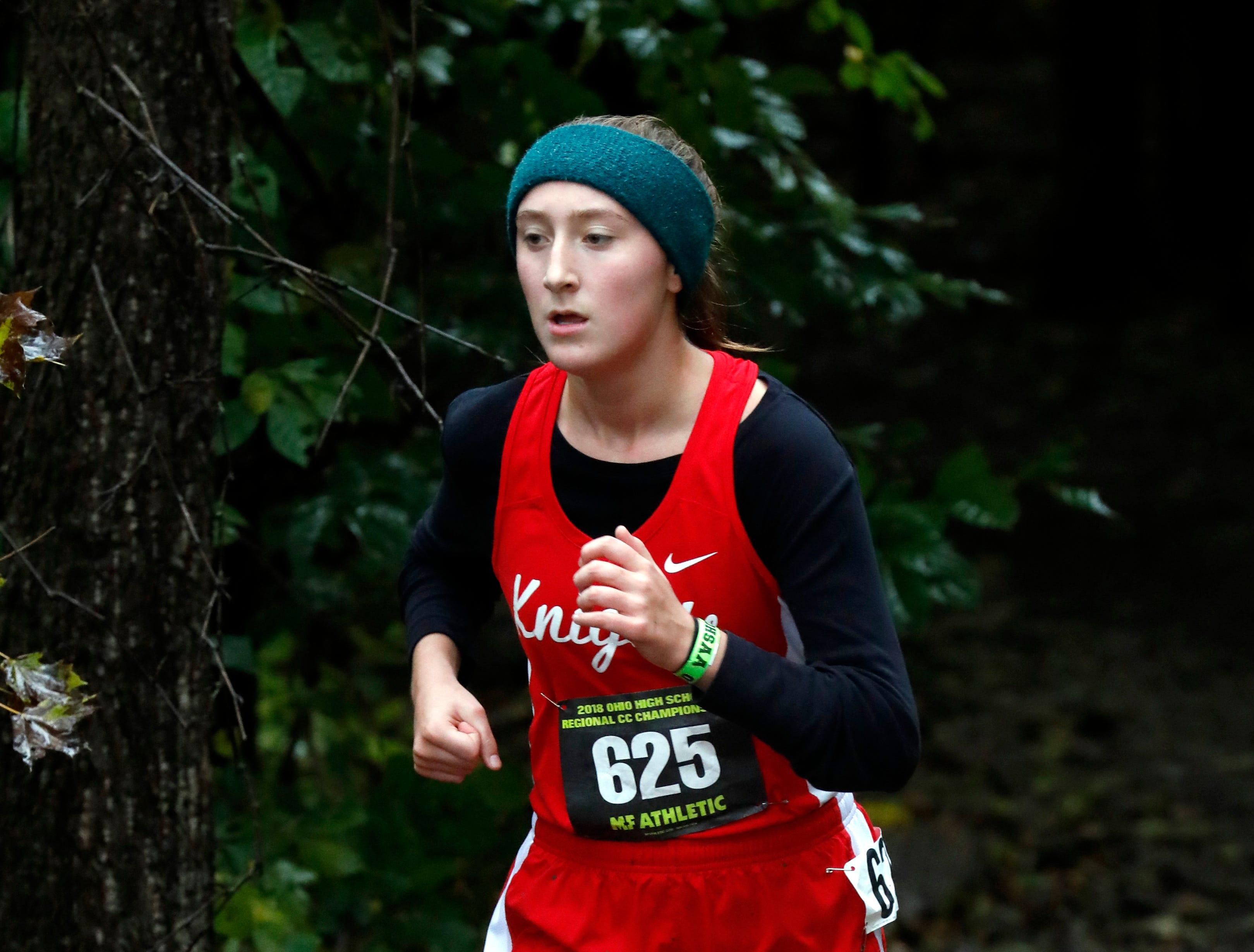 Fairfield Christian's Sophia Kumler runs in the Regional Cross Country meet Saturday, Oct. 27, 2018, at Pickerington North High School in Pickerington.