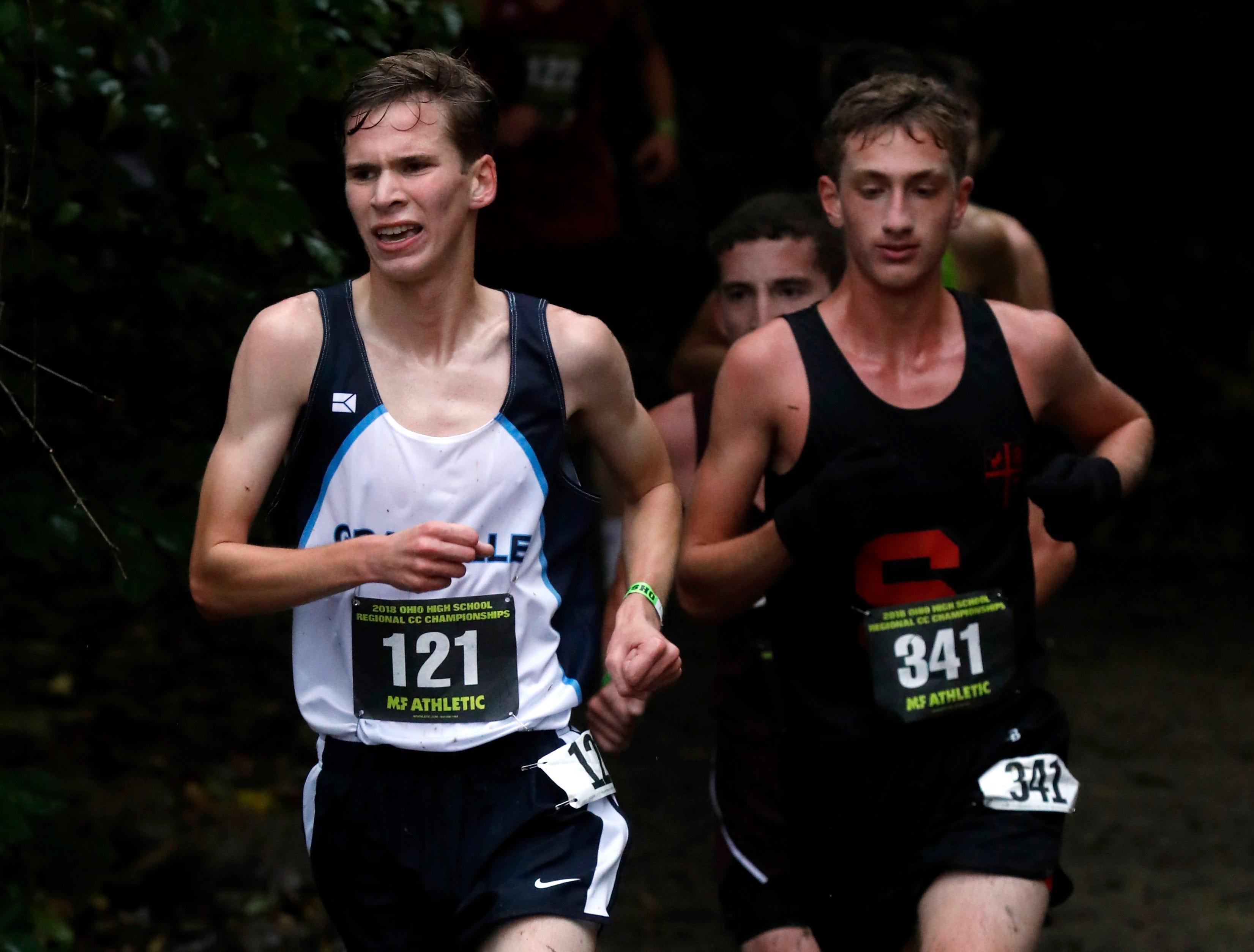 Granville's Jack Burczak runs in the Regional Cross Country meet Saturday, Oct. 27, 2018, at Pickerington North High School in Pickerington.