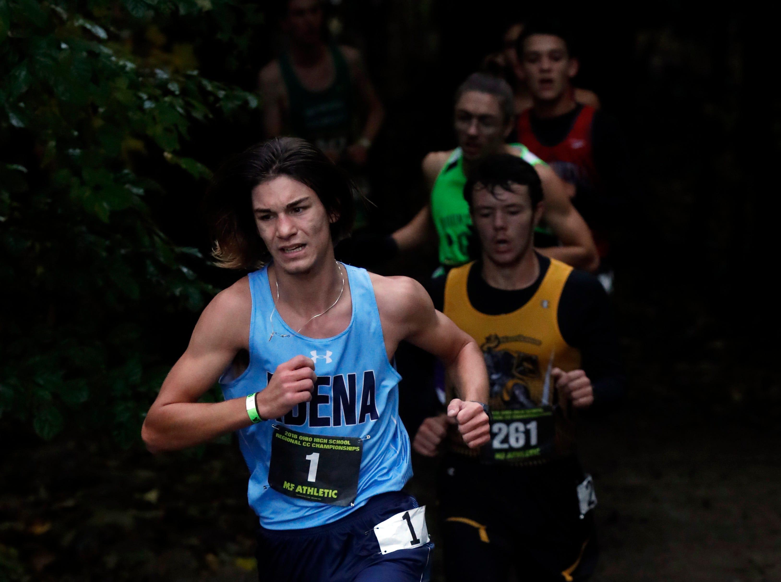 Adena's Emmitt Cunningham runs in the Regional Cross Country meet Saturday, Oct. 27, 2018, at Pickerington North High School in Pickerington.