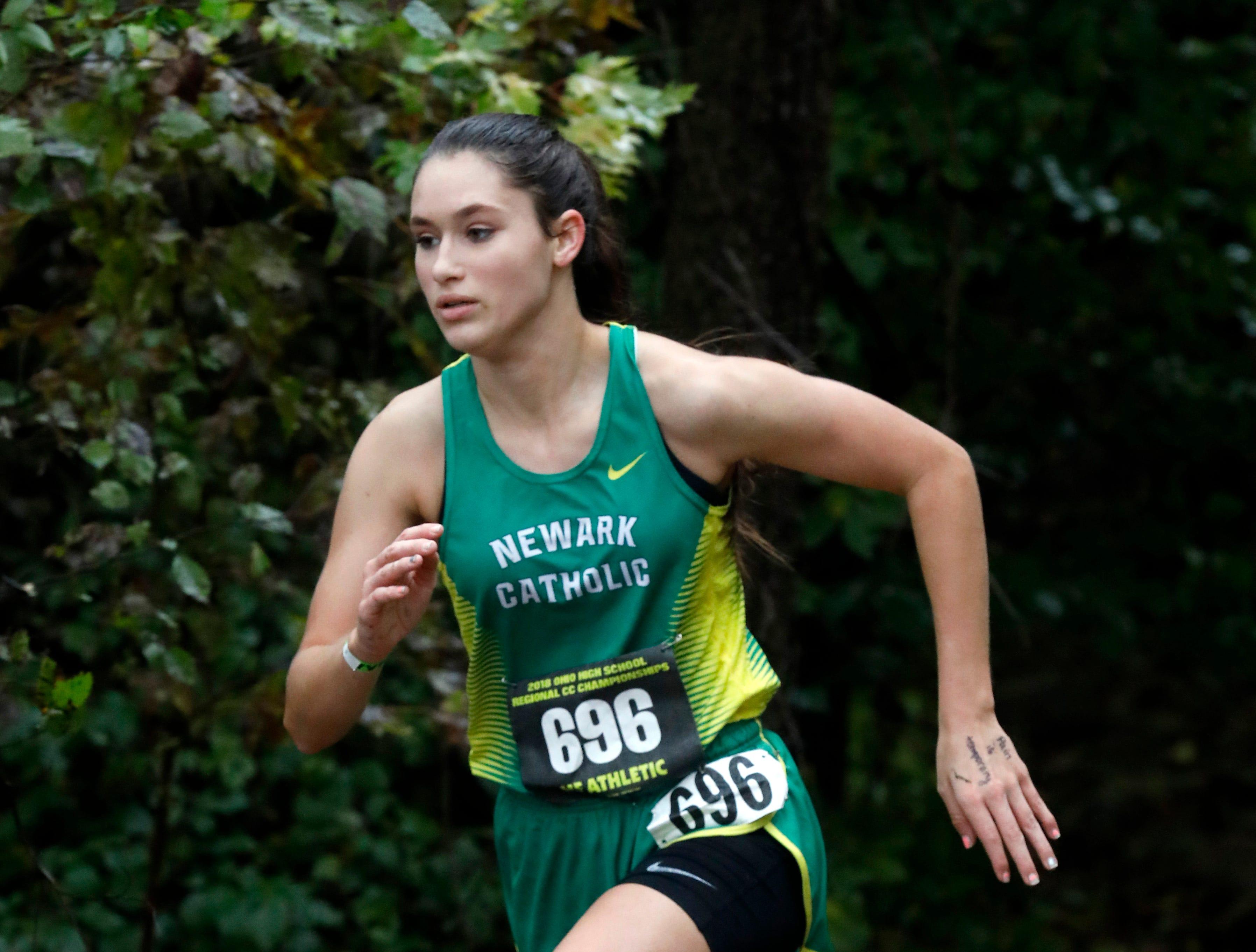Newark Catholic's Jeannette Miller runs in the Regional Cross Country meet Saturday, Oct. 27, 2018, at Pickerington North High School in Pickerington.