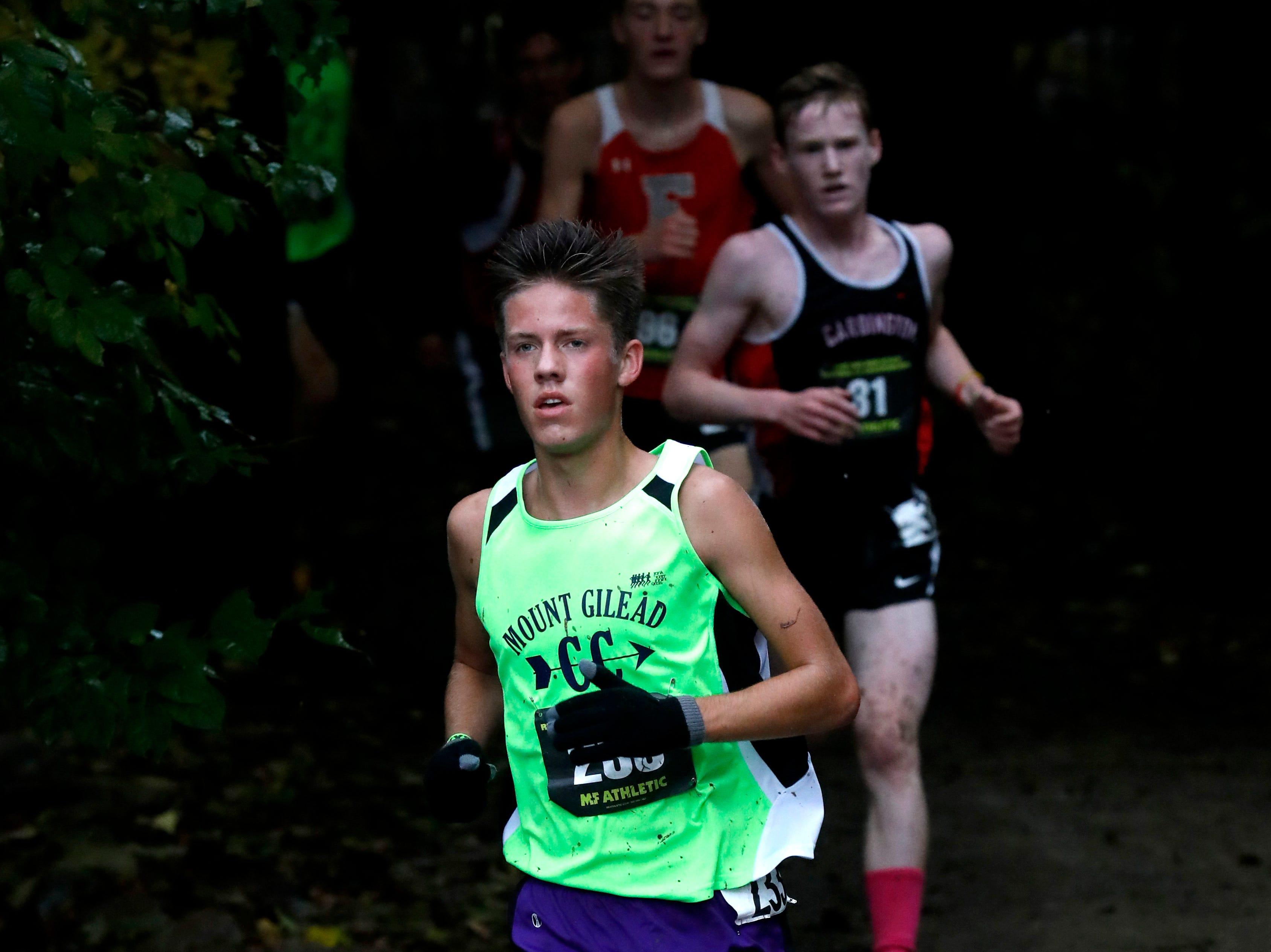 Mount Gilead's Casey White runs in the Regional Cross Country meet Saturday, Oct. 27, 2018, at Pickerington North High School in Pickerington.