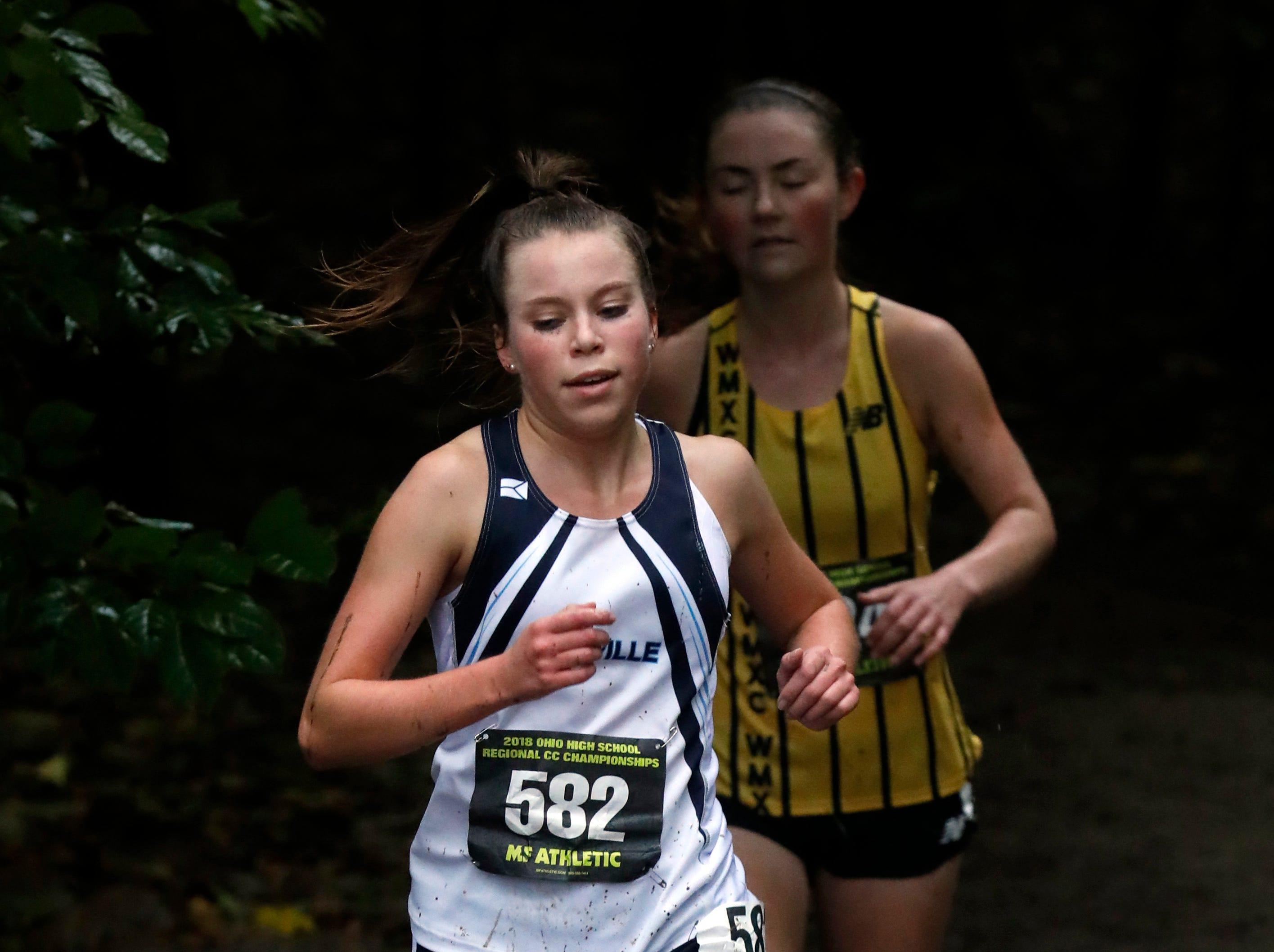 Granville senior Alyssa Christian runs in the Regional Cross Country meet Saturday at Pickerington North High School.