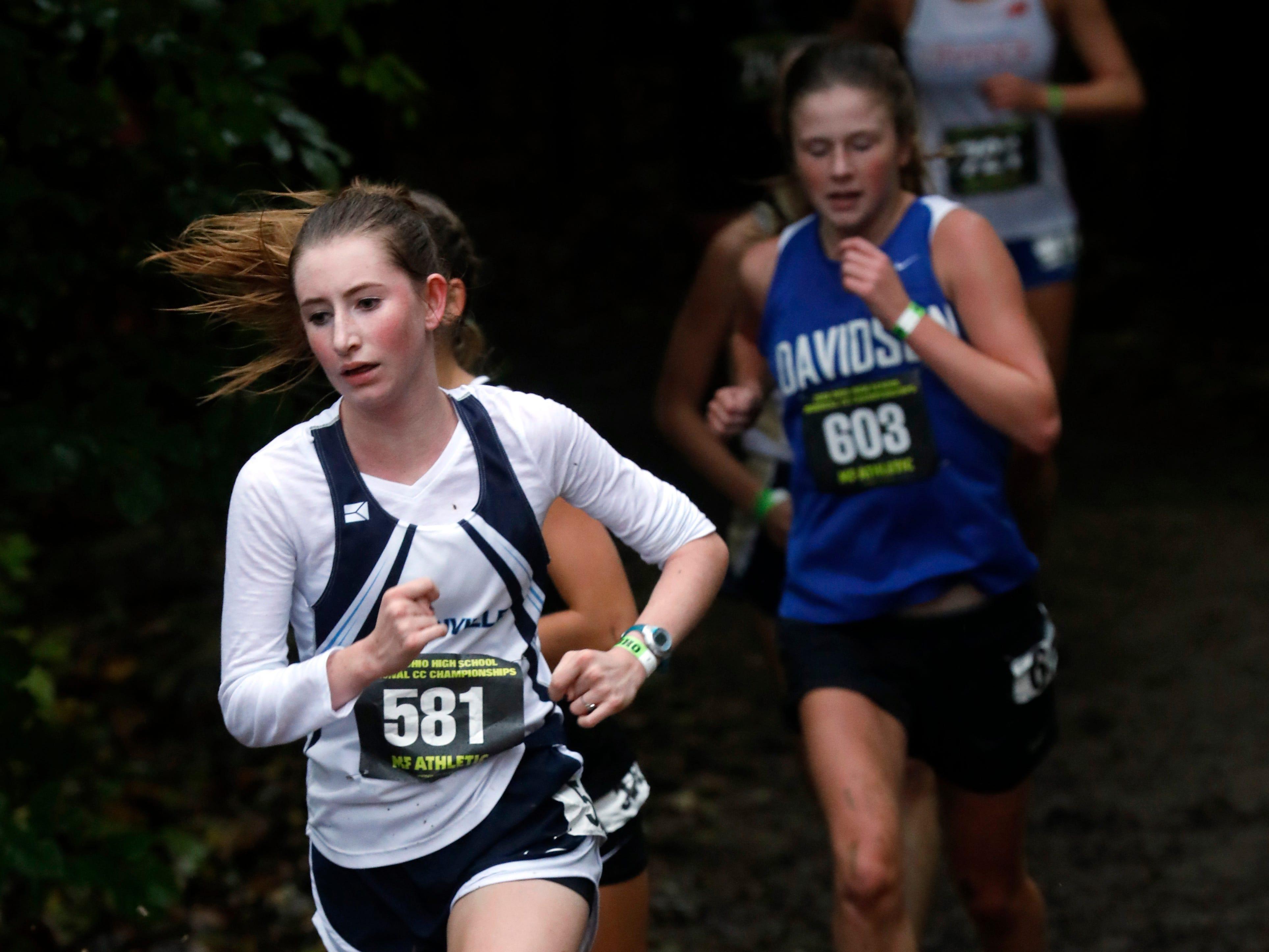 Granville's Emma Calvert runs in the Regional Cross Country meet Saturday, Oct. 27, 2018, at Pickerington North High School in Pickerington.