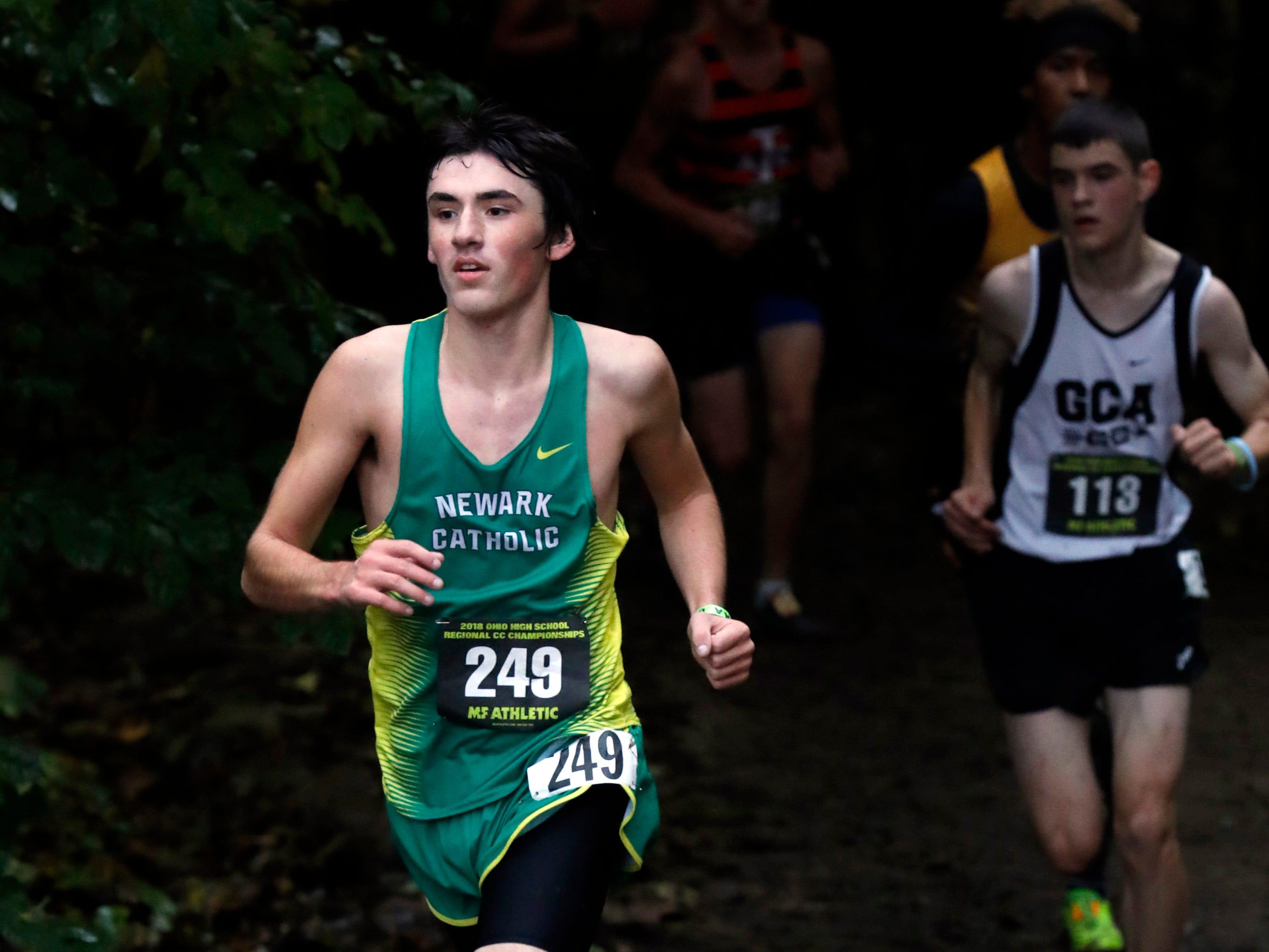 Newark Catholic's Pierce Ormond runs in the Regional Cross Country meet Saturday, Oct. 27, 2018, at Pickerington North High School in Pickerington.