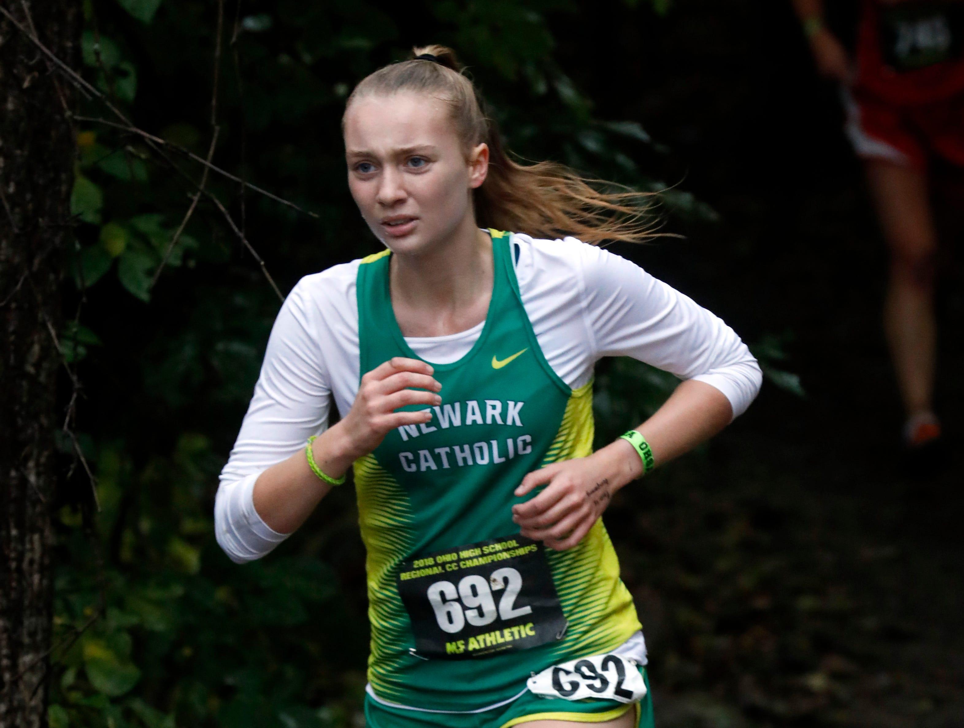 Newark Catholic's Charlotte Campbell runs in the Regional Cross Country meet Saturday, Oct. 27, 2018, at Pickerington North High School in Pickerington.