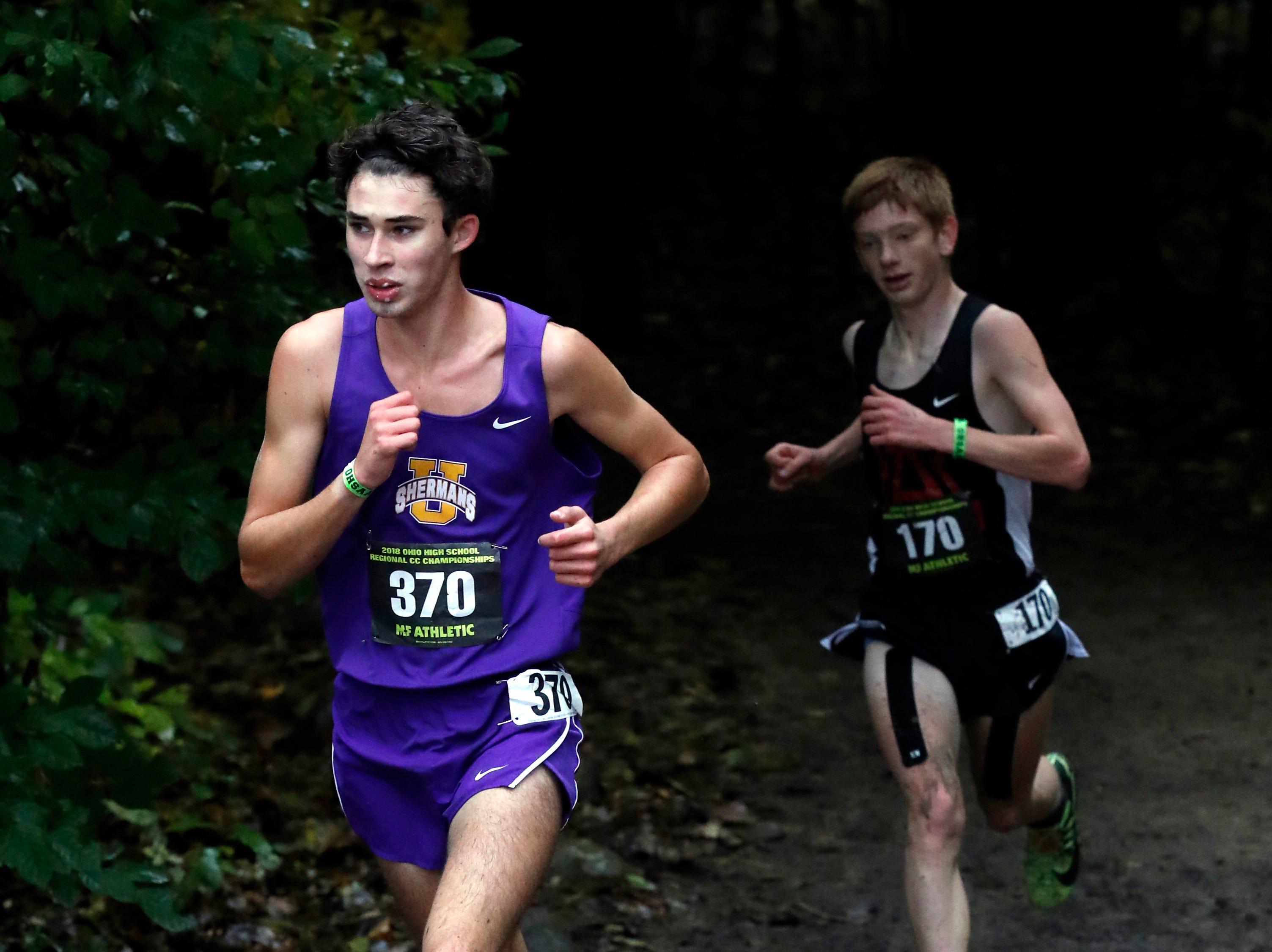 Unioto's Jaden Watkins runs in the Regional Cross Country meet Saturday, Oct. 27, 2018, at Pickerington North High School in Pickerington.