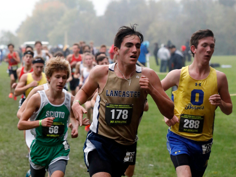 Lancaster's Justin Garey runs in the Regional Cross Country meet Saturday, Oct. 27, 2018, at Pickerington North High School in Pickerington.