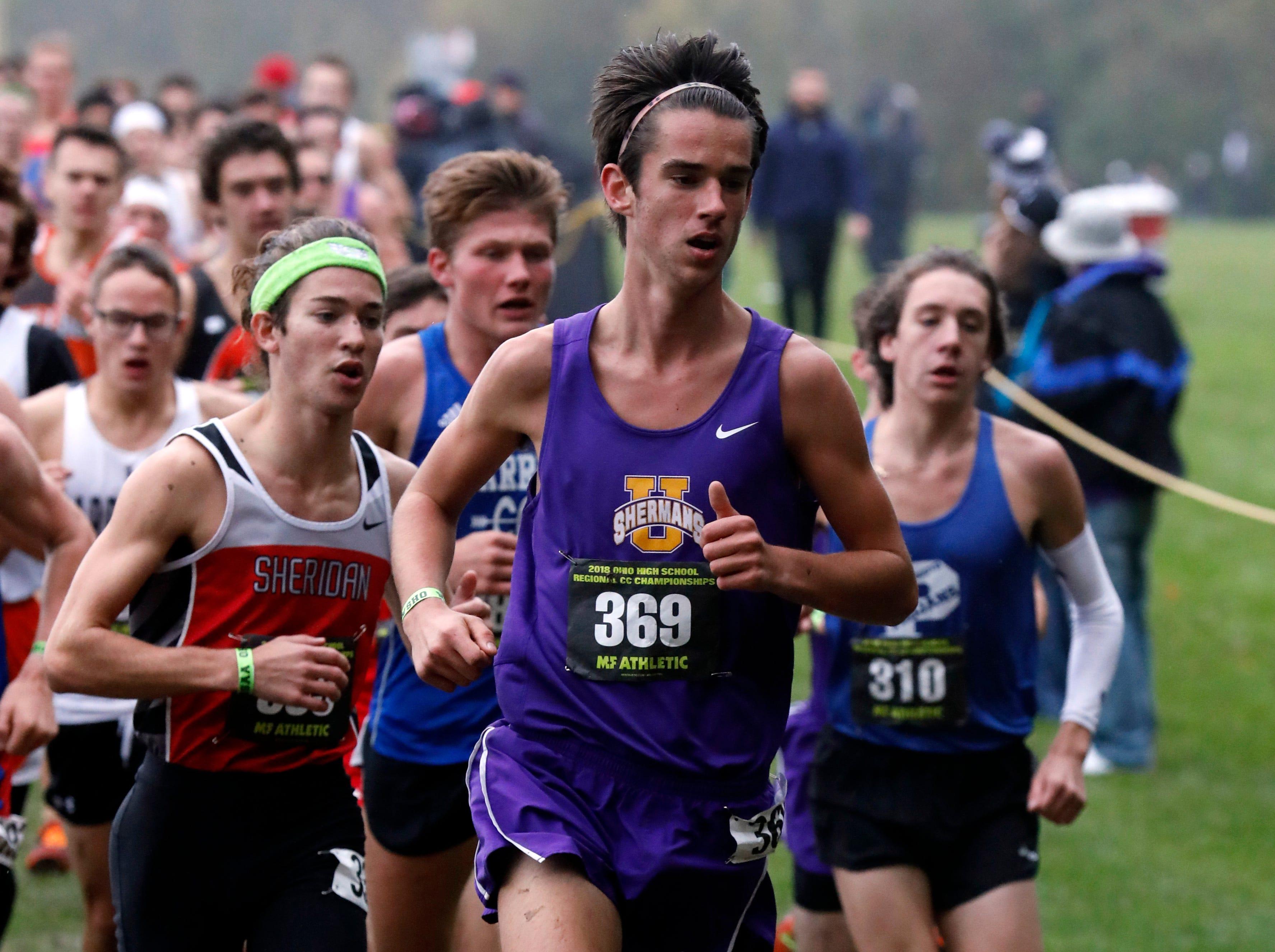 Unioto's Tucker Markko runs in the Regional Cross Country meet Saturday, Oct. 27, 2018, at Pickerington North High School in Pickerington.