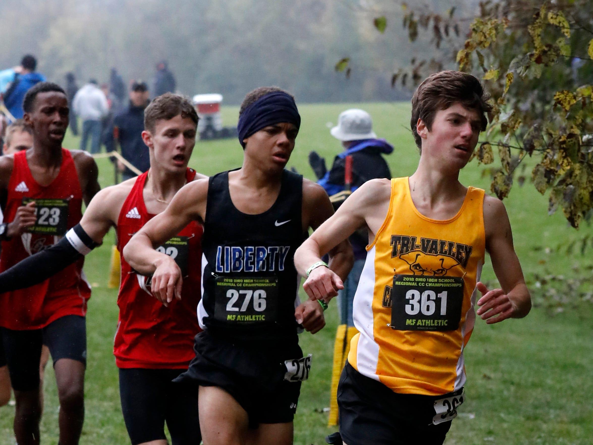 Tri-Valley's Ryan Meadows runs in the Regional Cross Country meet Saturday, Oct. 27, 2018, at Pickerington North High School in Pickerington.