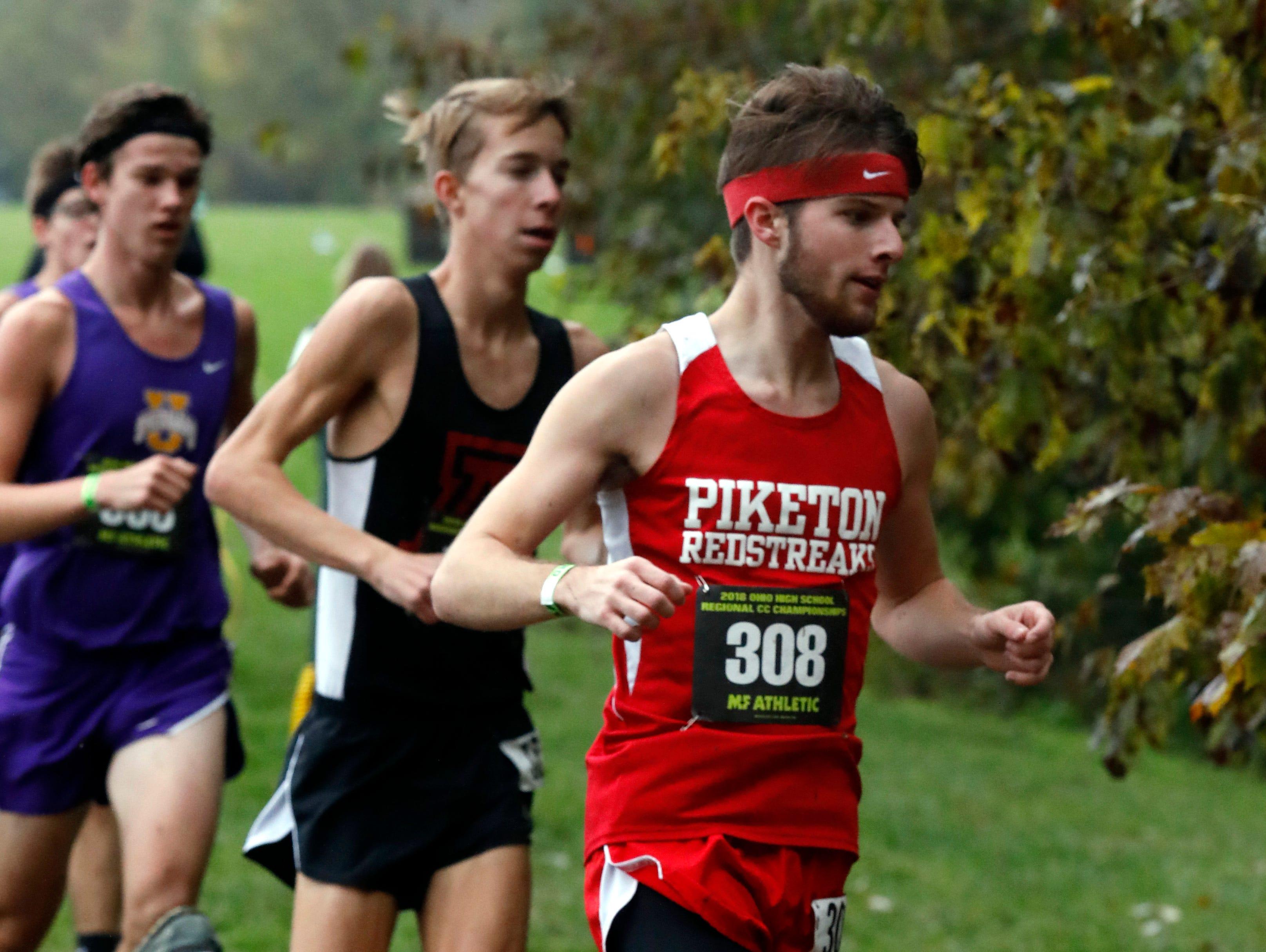 Piketon's Jaret Klinker runs in the Regional Cross Country meet Saturday, Oct. 27, 2018, at Pickerington North High School in Pickerington.