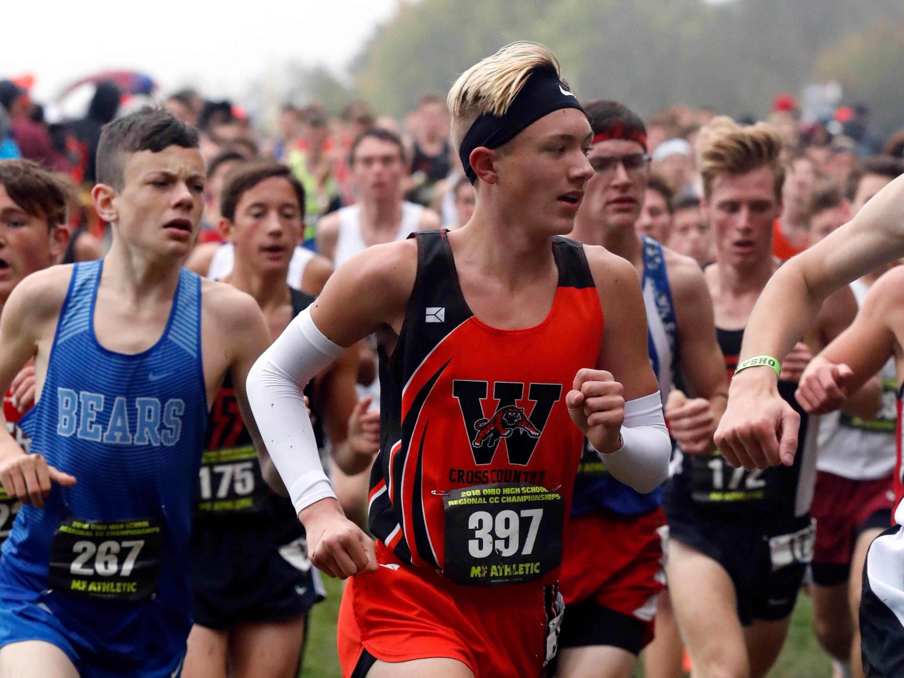Waverly's Jack Monroe runs in the Regional Cross Country meet Saturday, Oct. 27, 2018, at Pickerington North High School in Pickerington.