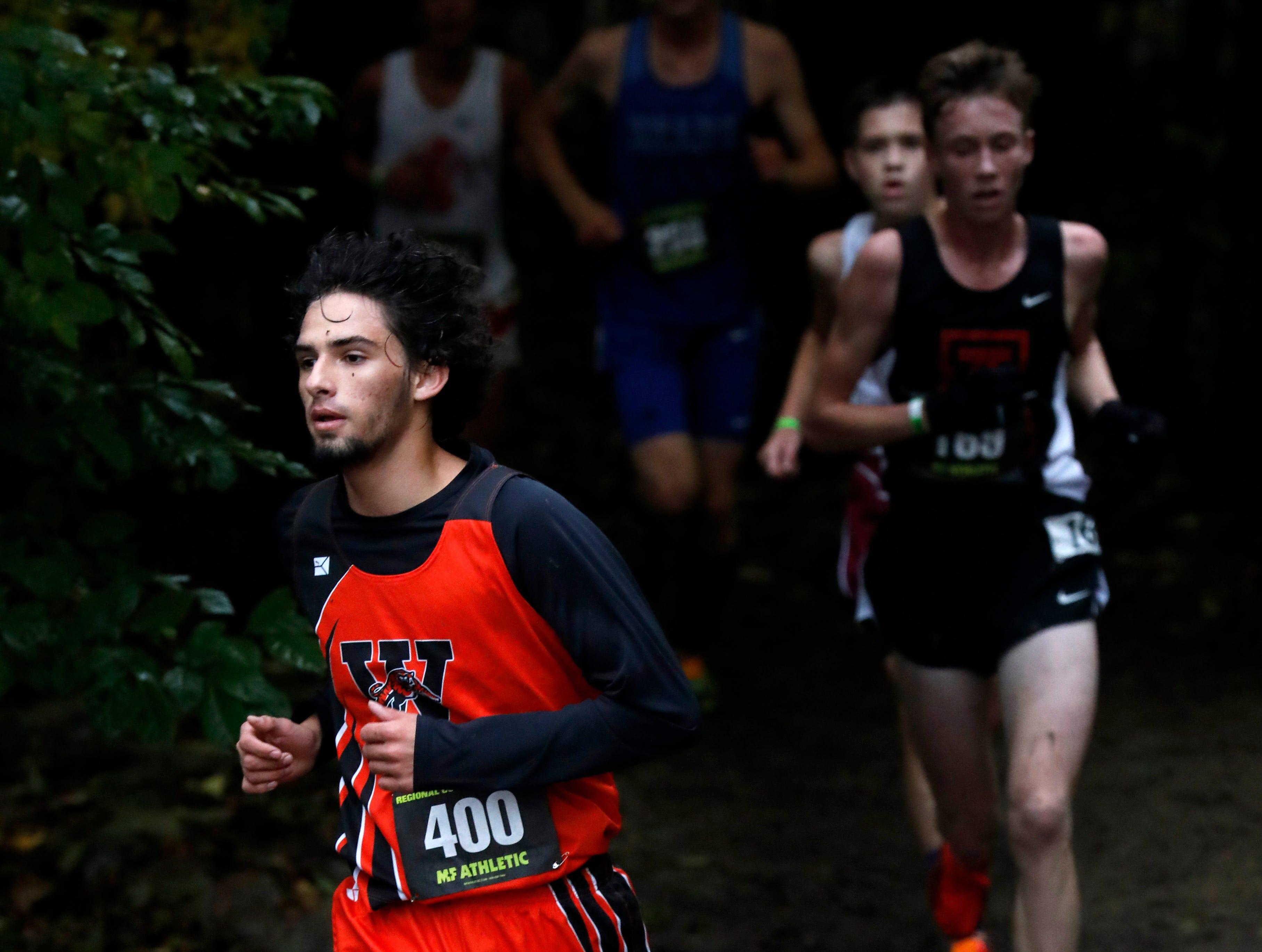 Waverly's Calob Ramirez runs in the Regional Cross Country meet Saturday, Oct. 27, 2018, at Pickerington North High School in Pickerington.