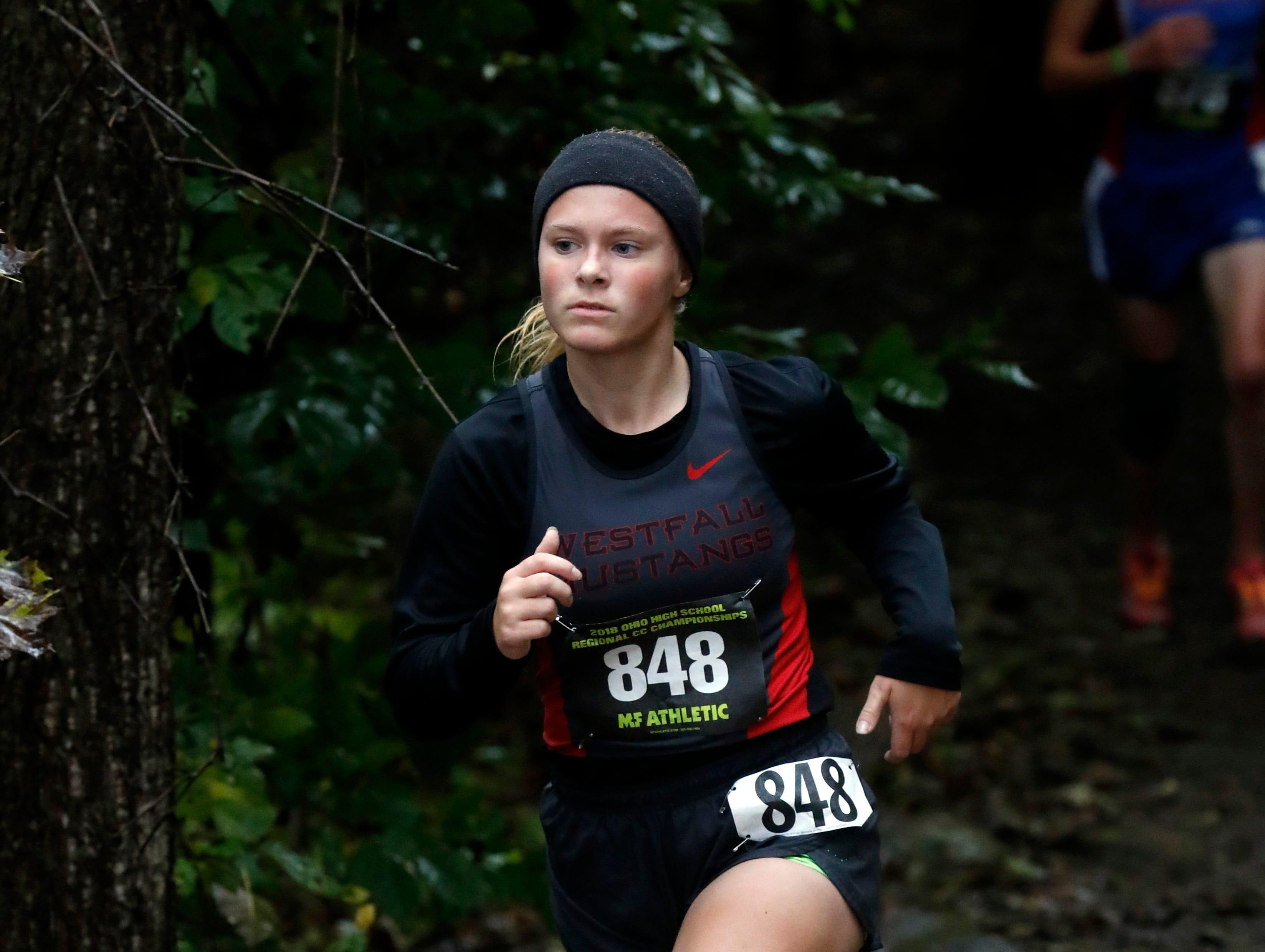 Westfall's Kylee Henry runs in the Regional Cross Country meet Saturday, Oct. 27, 2018, at Pickerington North High School in Pickerington.