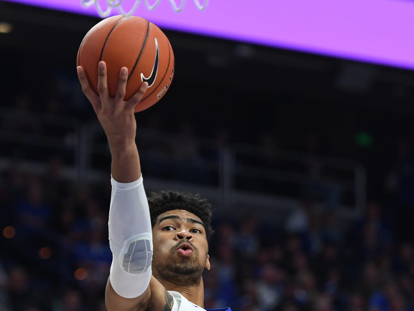 Nick Richards lays up the ball during the University of Kentucky basketball game against Transylvania at Rupp Arena in Lexington on Friday, Oct. 26, 2018.