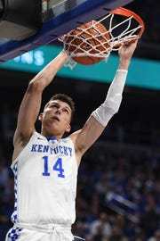 UK guard Tyler Herro dunks during the University of Kentucky men's basketball game against Transylvania at Rupp Arena in Lexington, Kentucky on Friday, Oct. 26, 2018.