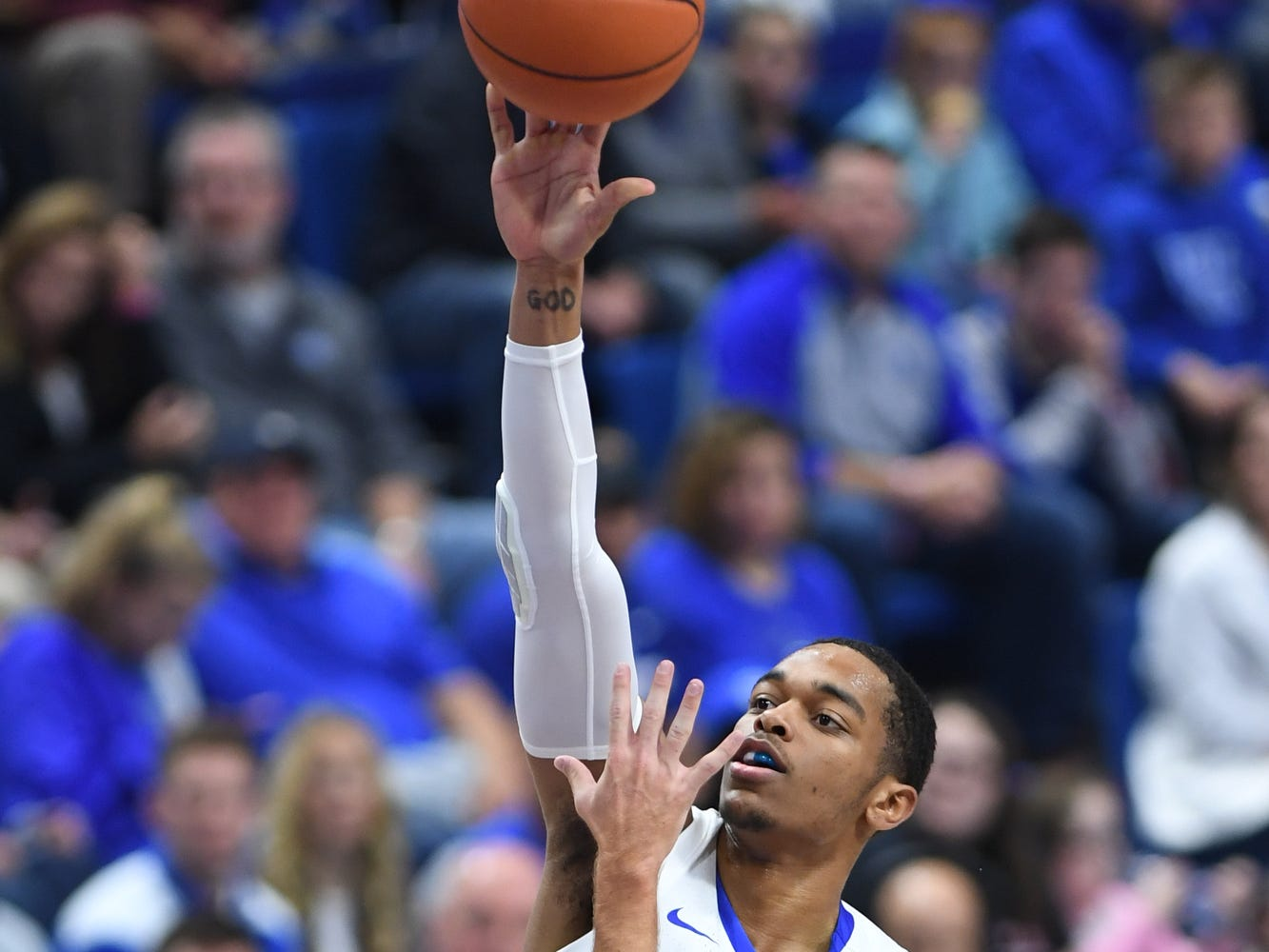 PJ Washington shoots the ball during the University of Kentucky basketball game against Transylvania at Rupp Arena in Lexington on Friday, Oct. 26, 2018.