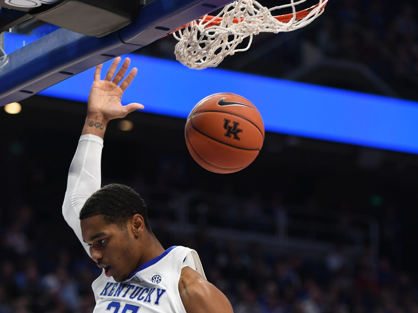 UK forward PJ Washington dunks during the University of Kentucky basketball game against Transylvania at Rupp Arena in Lexington on Friday, Oct. 26, 2018.