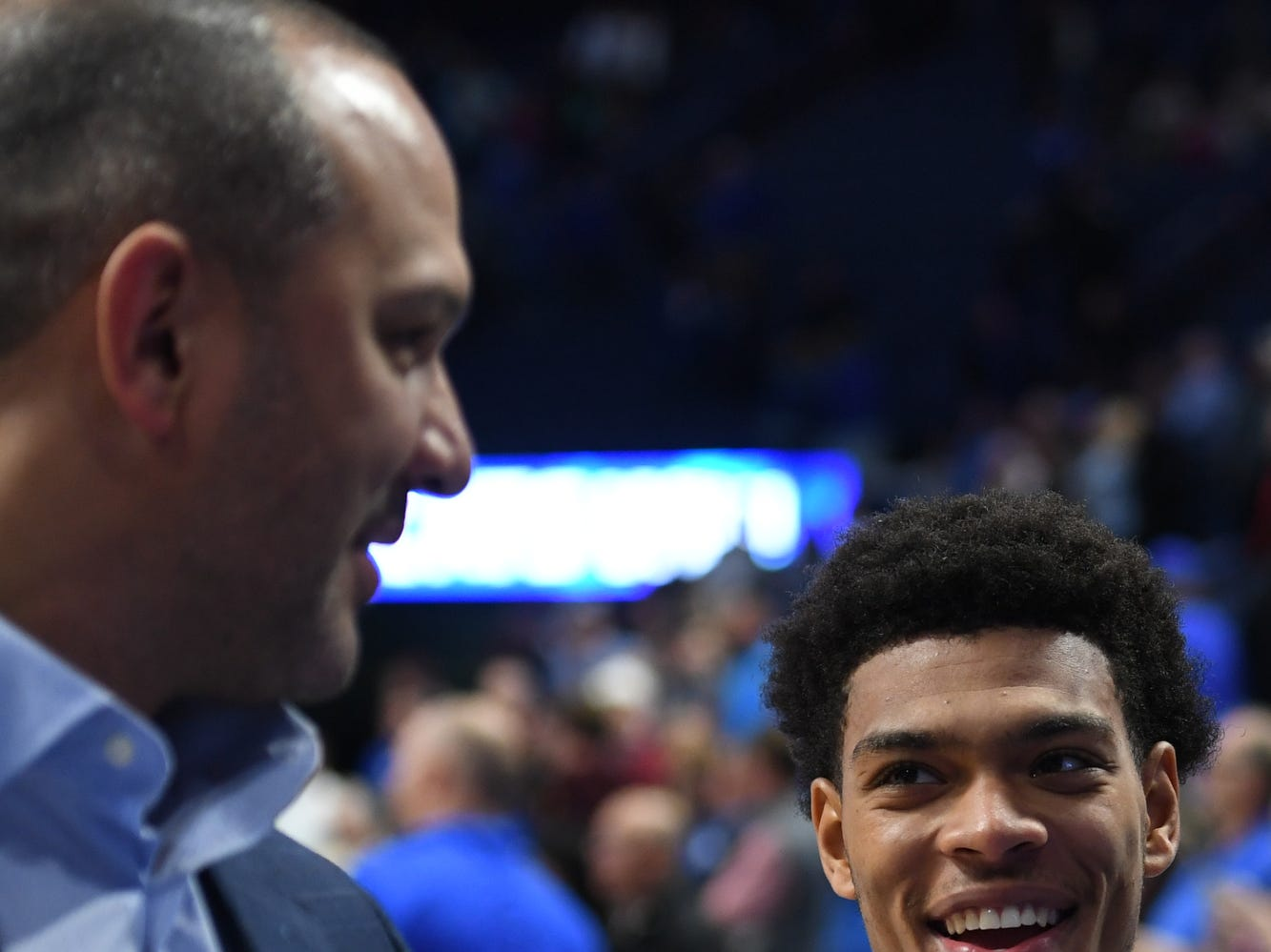 Quade Green laughs with coach Tony Barbee after the University of Kentucky basketball game against Transylvania at Rupp Arena in Lexington on Friday, Oct. 26, 2018.