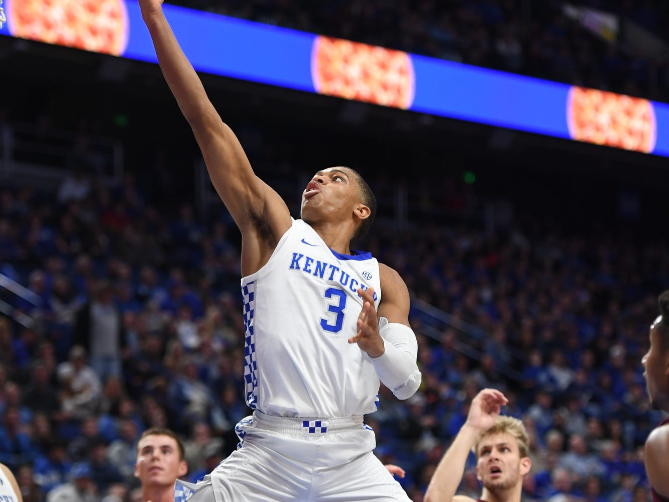 Keldon Johnson puts up the ball during the University of Kentucky basketball game against Transylvania at Rupp Arena in Lexington, Kentucky on Friday, Oct. 26, 2018.