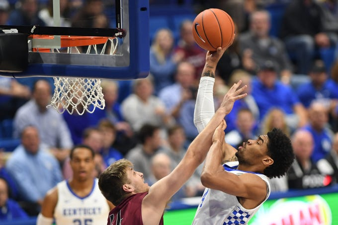 Nick Richards puts up the ball during the University of Kentucky basketball game against Transylvania at Rupp Arena in Lexington on Friday, Oct. 26, 2018.