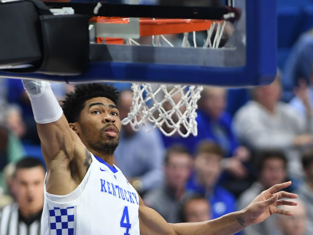 Nick Richards dunks during the University of Kentucky basketball game against Transylvania at Rupp Arena in Lexington on Friday, Oct. 26, 2018.