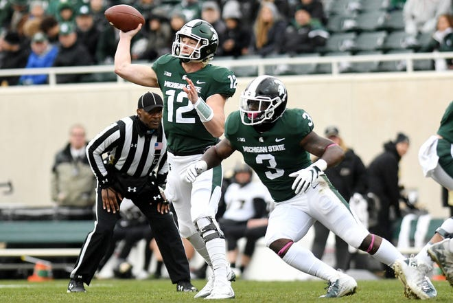 Michigan State's Rocky Lombardi throws a pass during the first quarter on Saturday, Oct. 27, 2018, at Spartan Stadium in East Lansing.