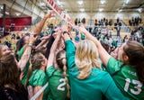 Highlights of Yorktown's thrilling 27-25, 26-24, 25-16 victory over Penn to advance to the Class 4A state championship.