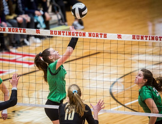 Yorktown's Kate Vinson sets against Penn's defense during their semi state game at Huntington North High School Saturday, Oct. 27, 2018.