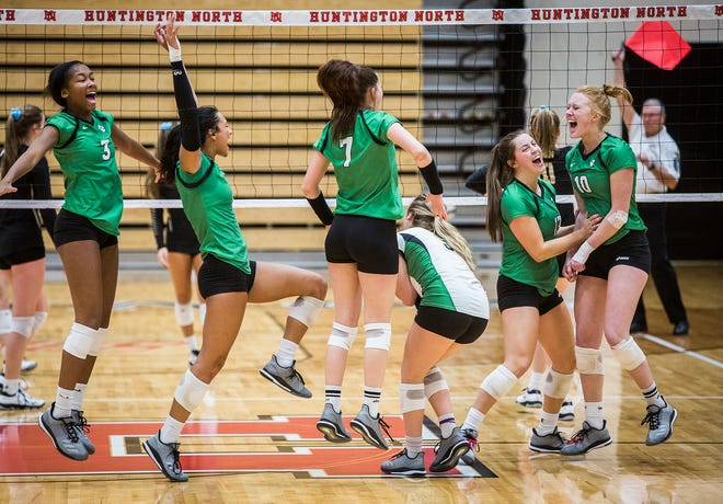 Yorktown celebrates their semi state win over Penn at Huntington North High School Saturday, Oct. 27, 2018.