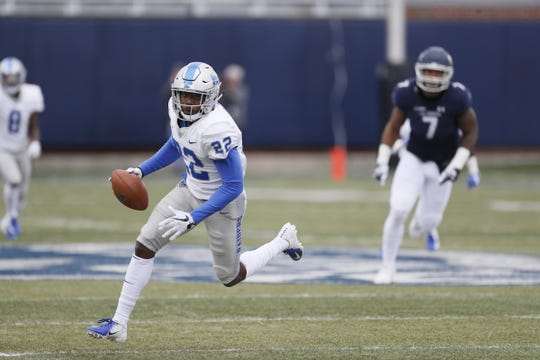 MTSU cornerback Cordell Hudson runs with the ball during the Blue Raiders' game against Old Dominion on Oct. 27, 2018.