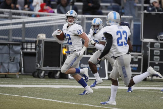 MTSU safety Reed Blankenship returns an interception 100 yards for a touchdown during the Blue Raiders' game against Old Dominion on Oct. 27, 2018.
