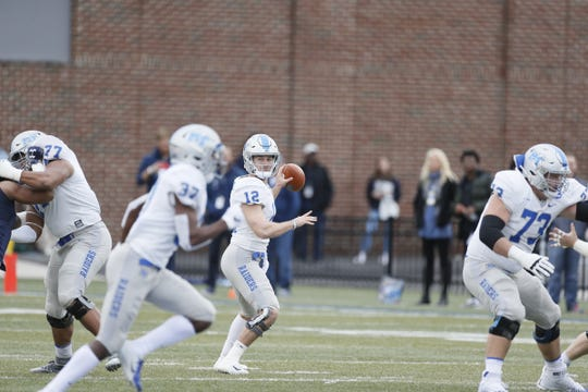 MTSU quarterback Brent Stockstill looks to throw a pass to wide receiver Patrick Smith during the Blue Raiders' 51-17 win over Old Dominion on Oct. 27, 2018.