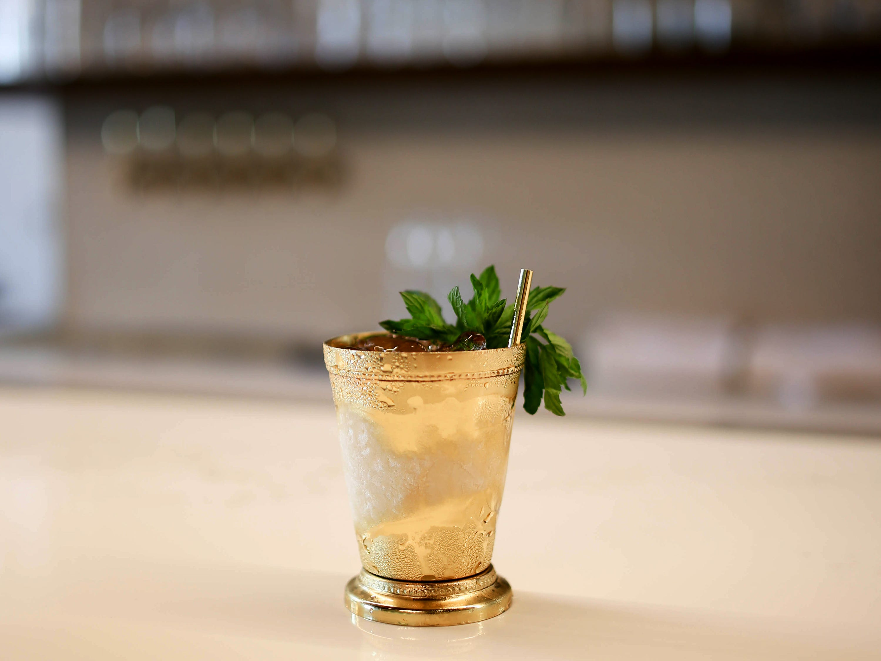 Coffee Mint Julep: brandy, demerara sugar, mint and coffee ice at Stay Golden restaurant and roastery.